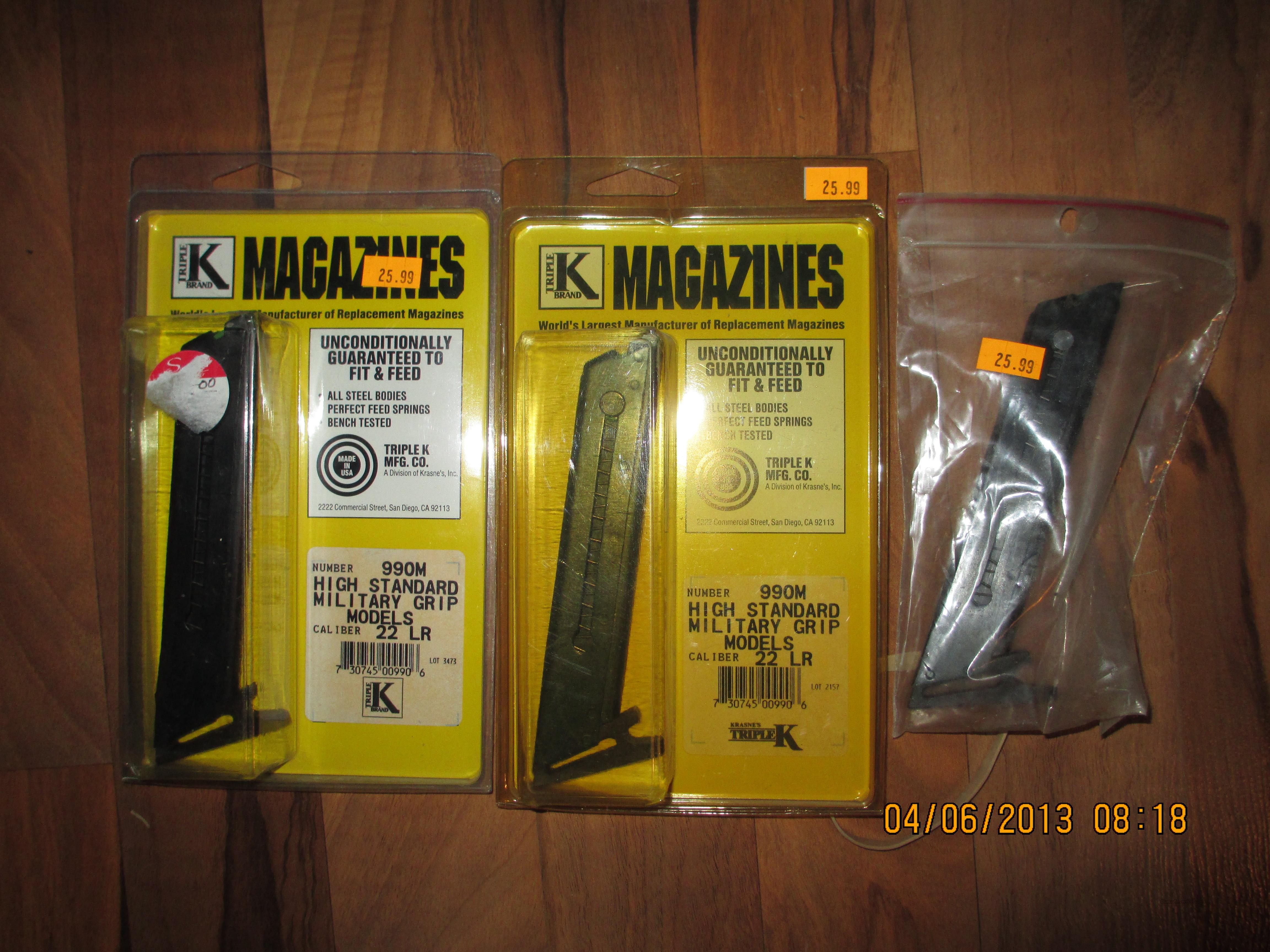 Lot of 3 High Standard magazines - 22 long rifle  Non-Guns > Magazines & Clips > Pistol Magazines > Other