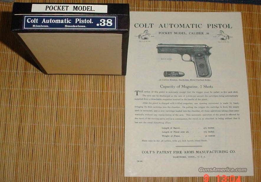 Colt 1903 pocket hammer 38 acp Box and manual  Non-Guns > Gun Cases