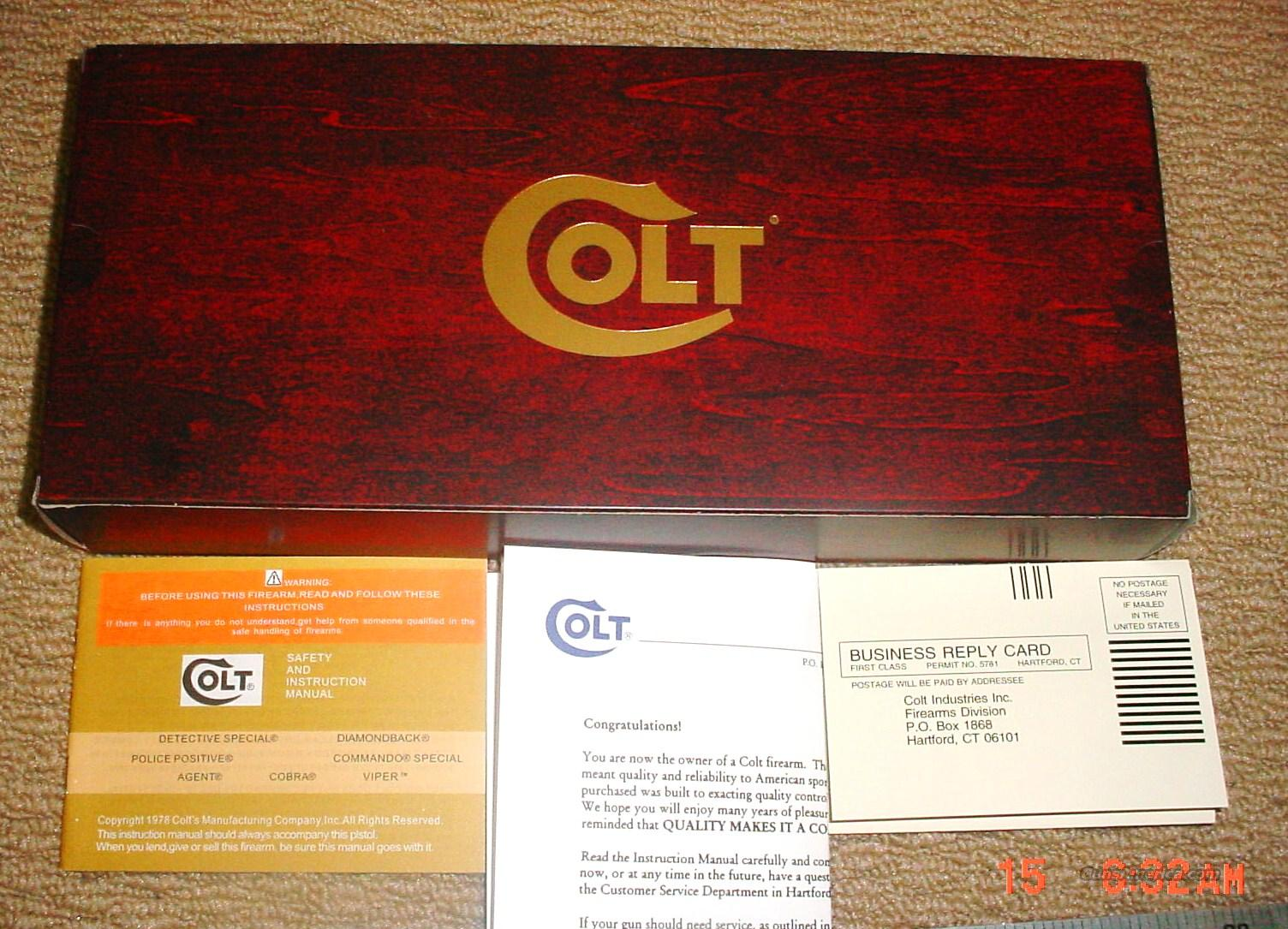 Colt Diamondback Box 1970's to late 1980's  Guns > Pistols > Colt Double Action Revolvers- Modern