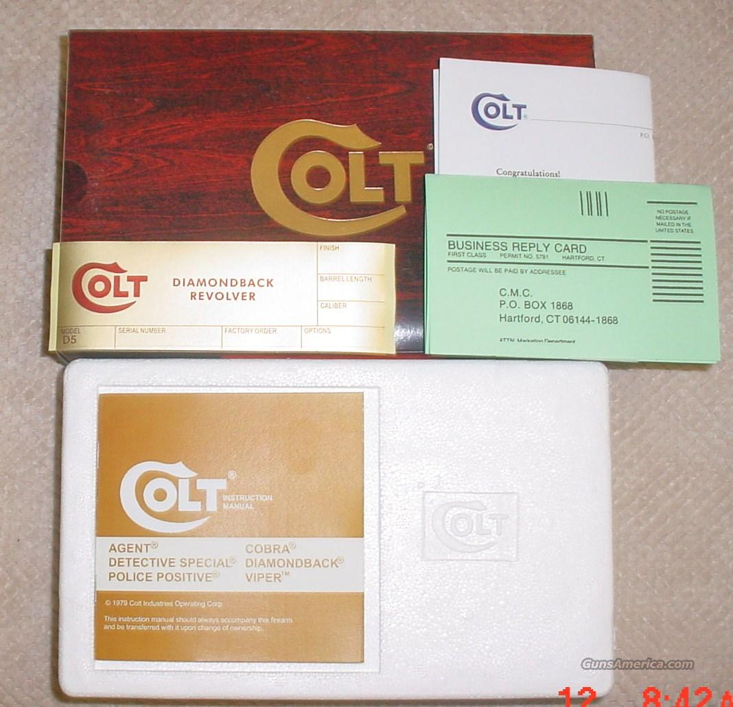 Colt Diamondback 2.5 inch or 4 inch Box & Paperwork  Non-Guns > Gun Cases