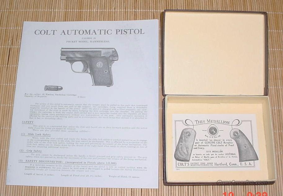 Colt 1908 .25 Cal. Semi-Auto Box & Manual  Non-Guns > Gun Cases