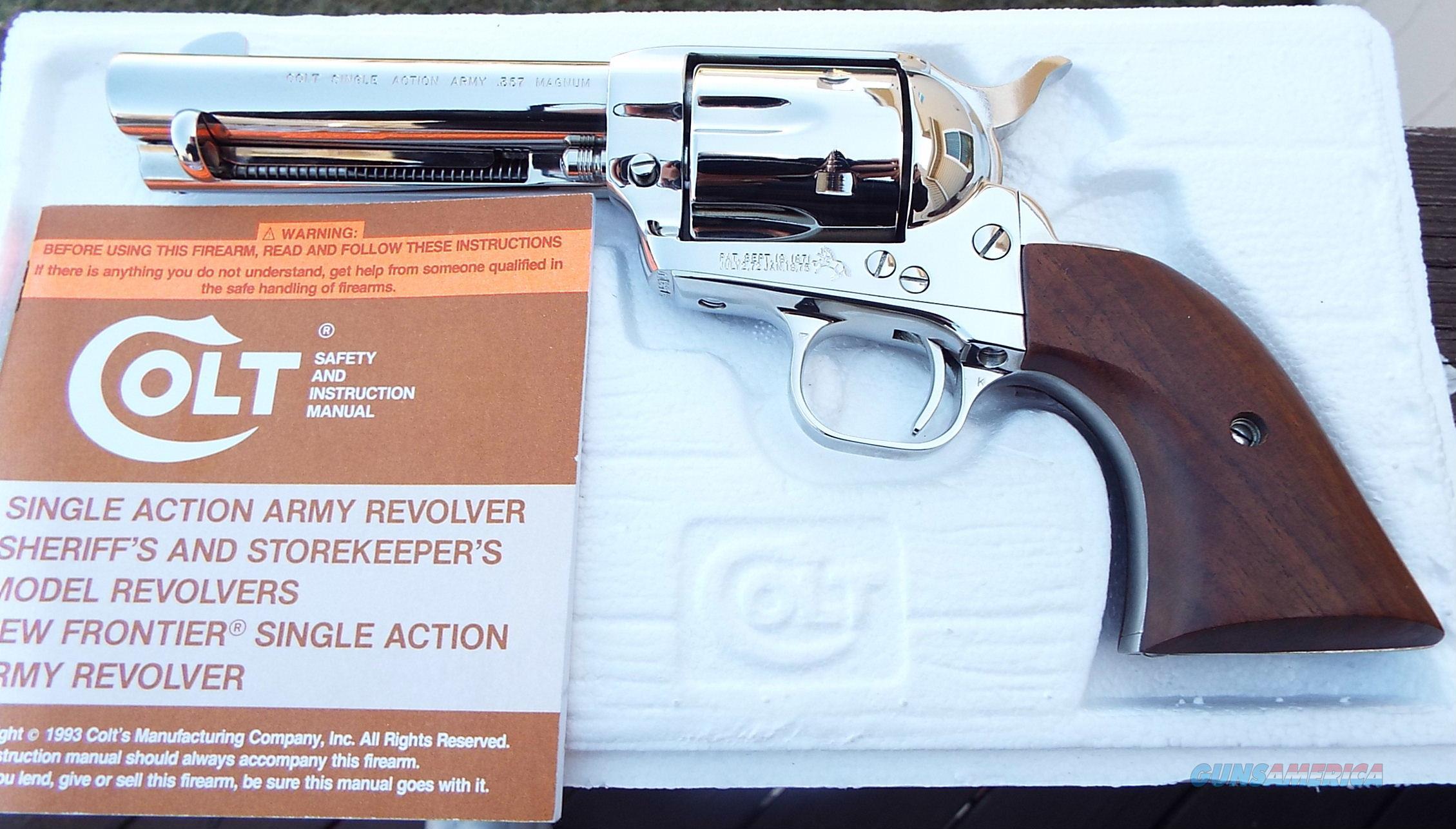 Colt SINGLE ACTION ARMY 3rd Gen. NICKEL 357 Mag. w/ BOX  Guns > Pistols > Colt Single Action Revolvers - 3rd Gen.