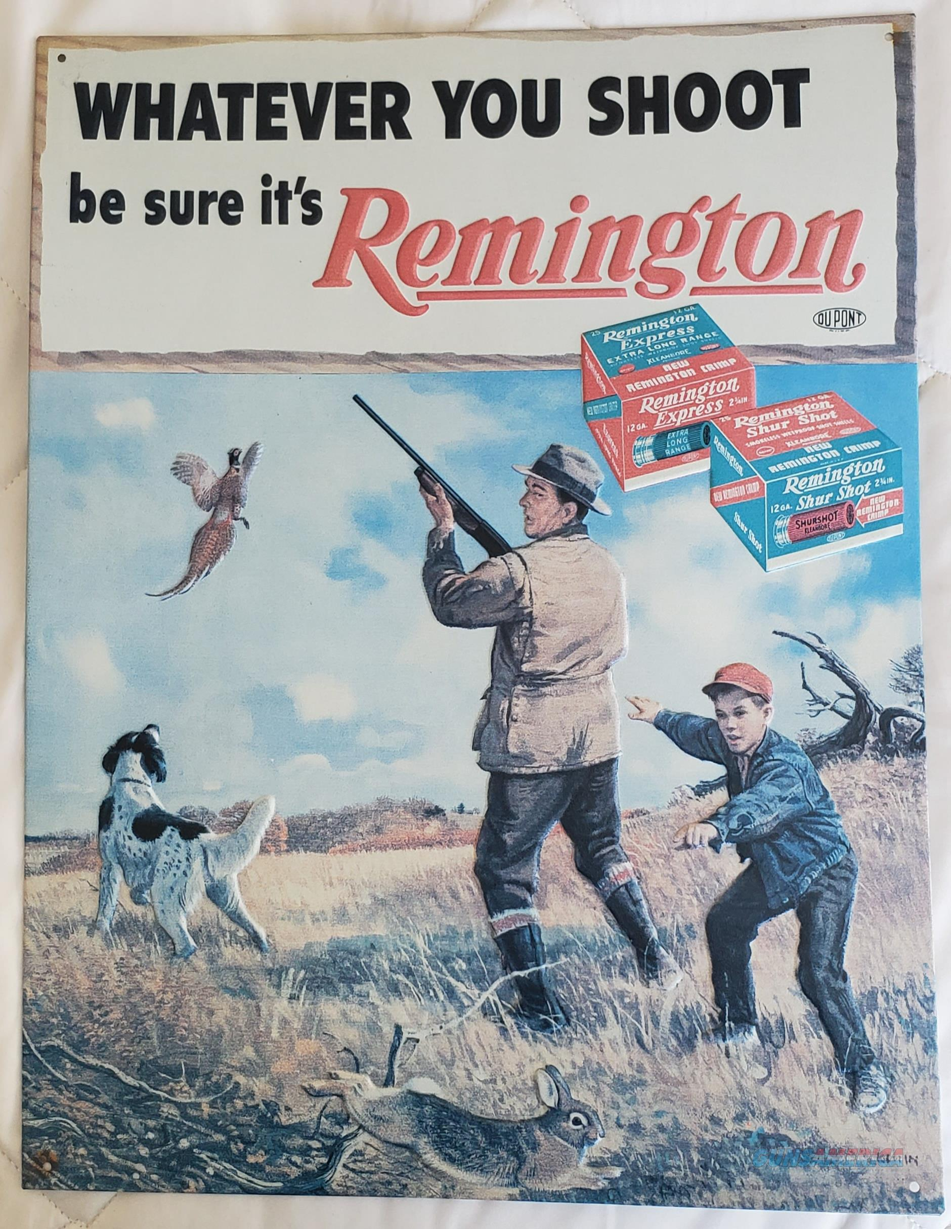 "Remington Express ""Whatever You Shoot"" Nostalgic Embossed TIN SIGN  Non-Guns > Miscellaneous"