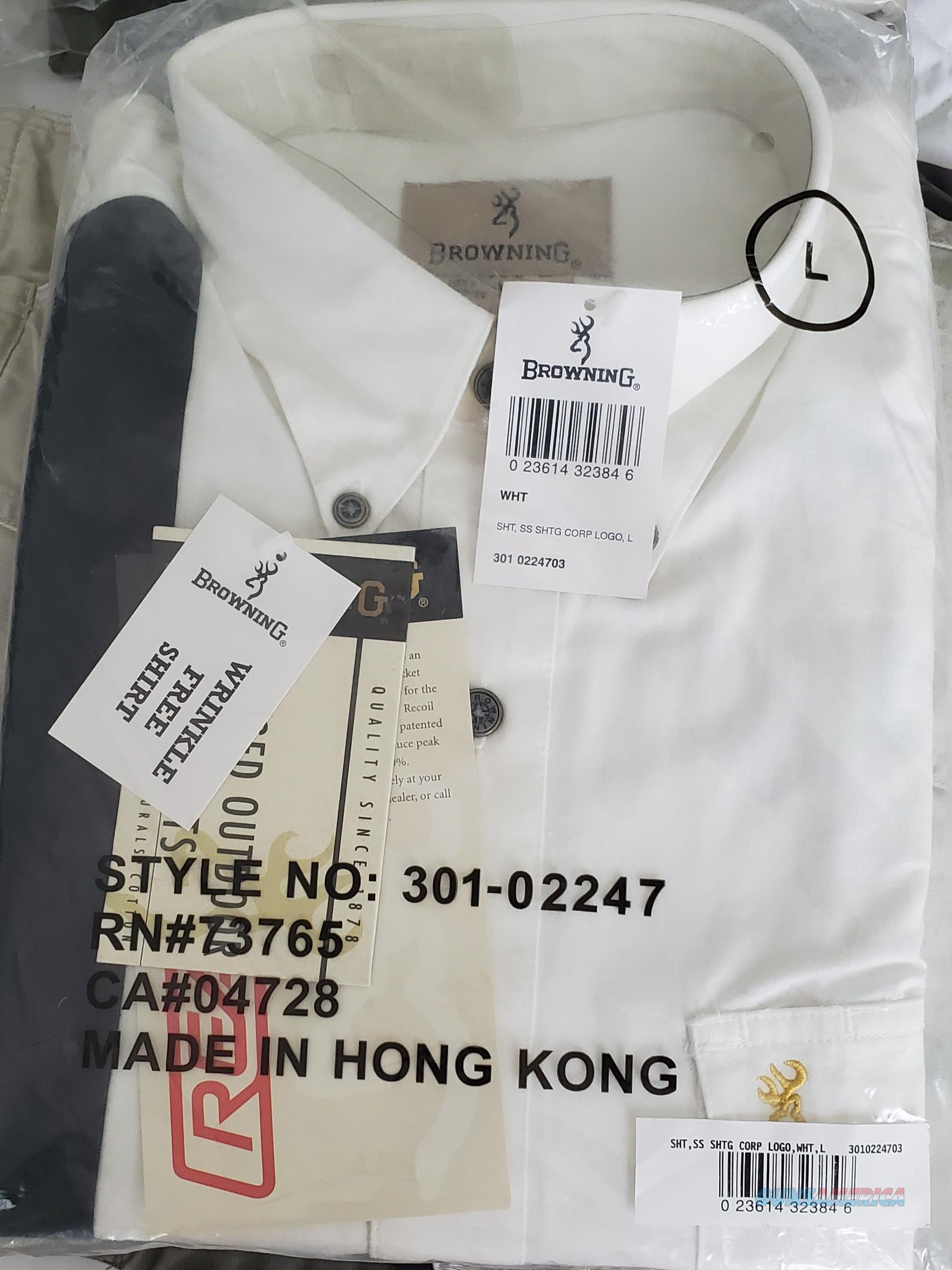 Browning White Men's Short Sleeve Shooting Shirt w/ Corp Logo NEW! Size L  Non-Guns > Hunting Clothing and Equipment > Clothing > Shirts