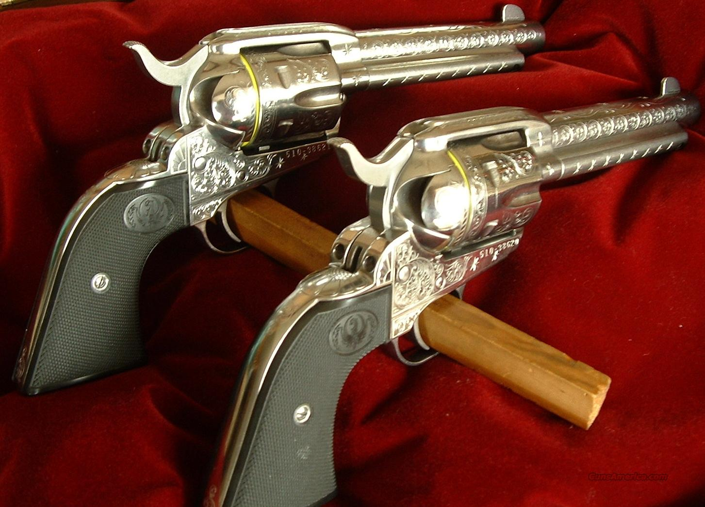 Ruger Stainless New Vaquero ENGRAVED Pair 45  Guns > Pistols > Ruger Single Action Revolvers
