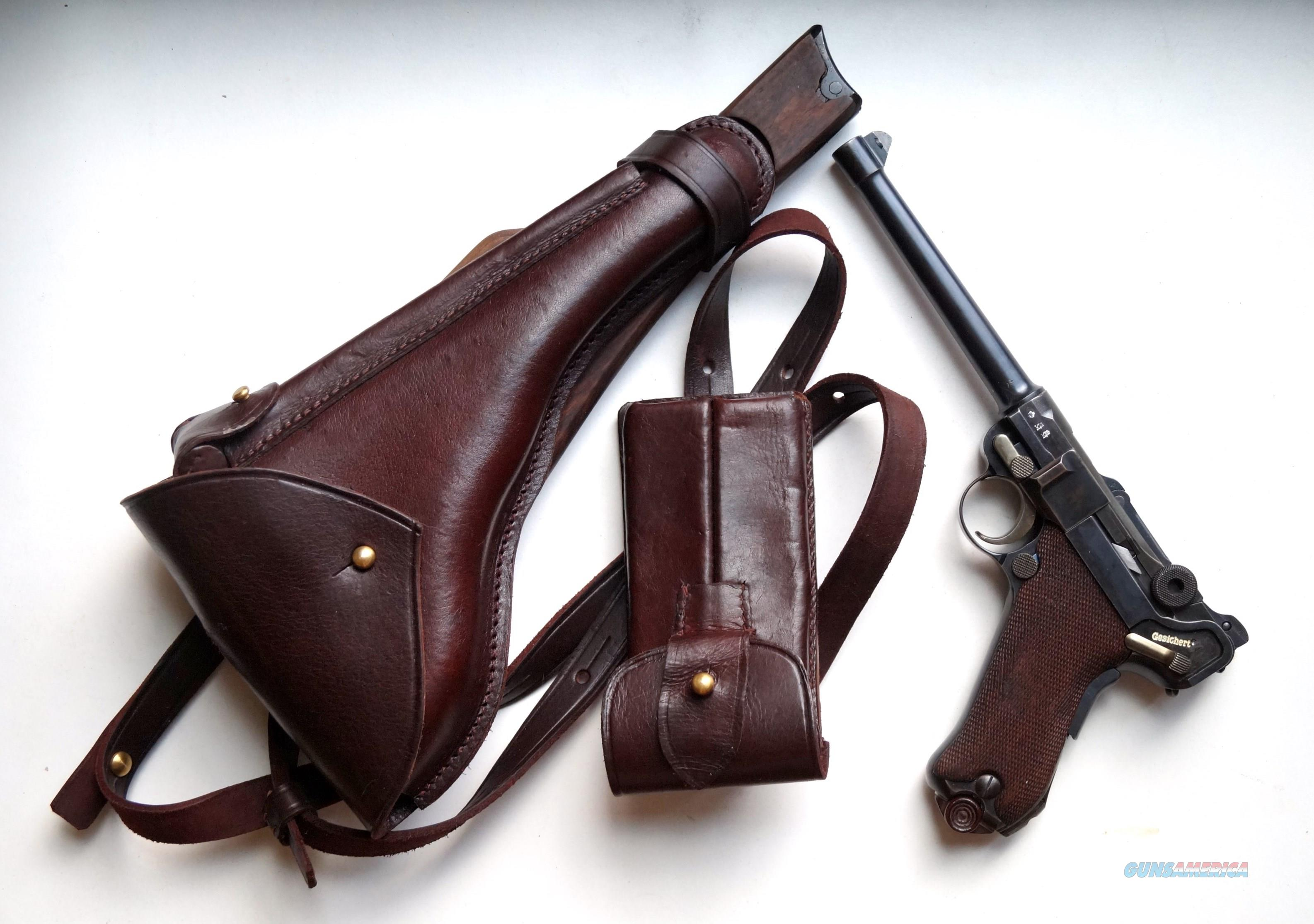 1914 ERFURT MILITARY ARTILLERY GERMAN LUGER RIG WITH MATCHING NUMBERED MAGAZINE  Guns > Pistols > Luger Pistols