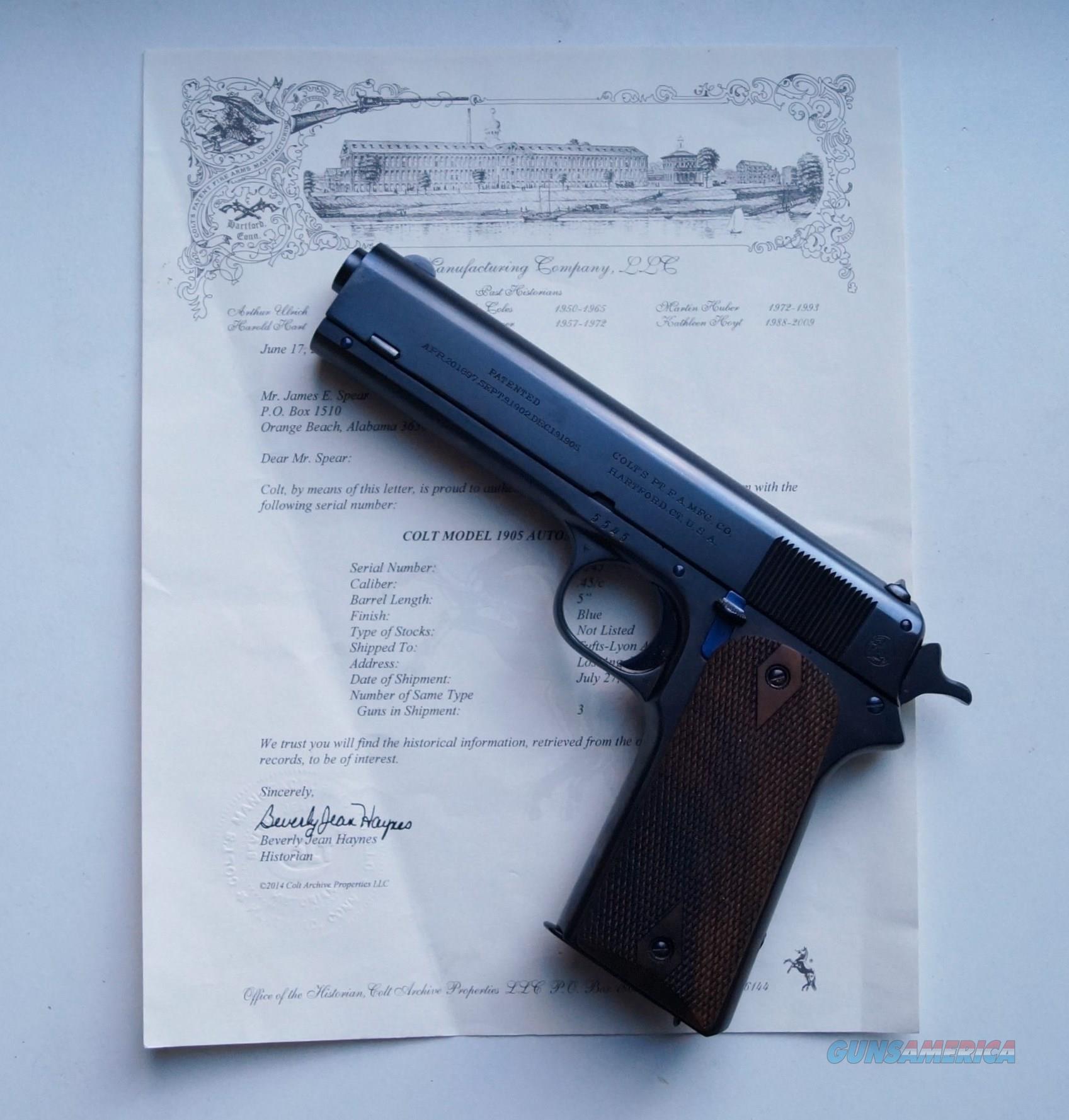 COLT MODEL 1905 AUTO MATIC - MINT - WITH COLT FACTORY LETTER  Guns > Pistols > Colt Automatic Pistols (1911 & Var)