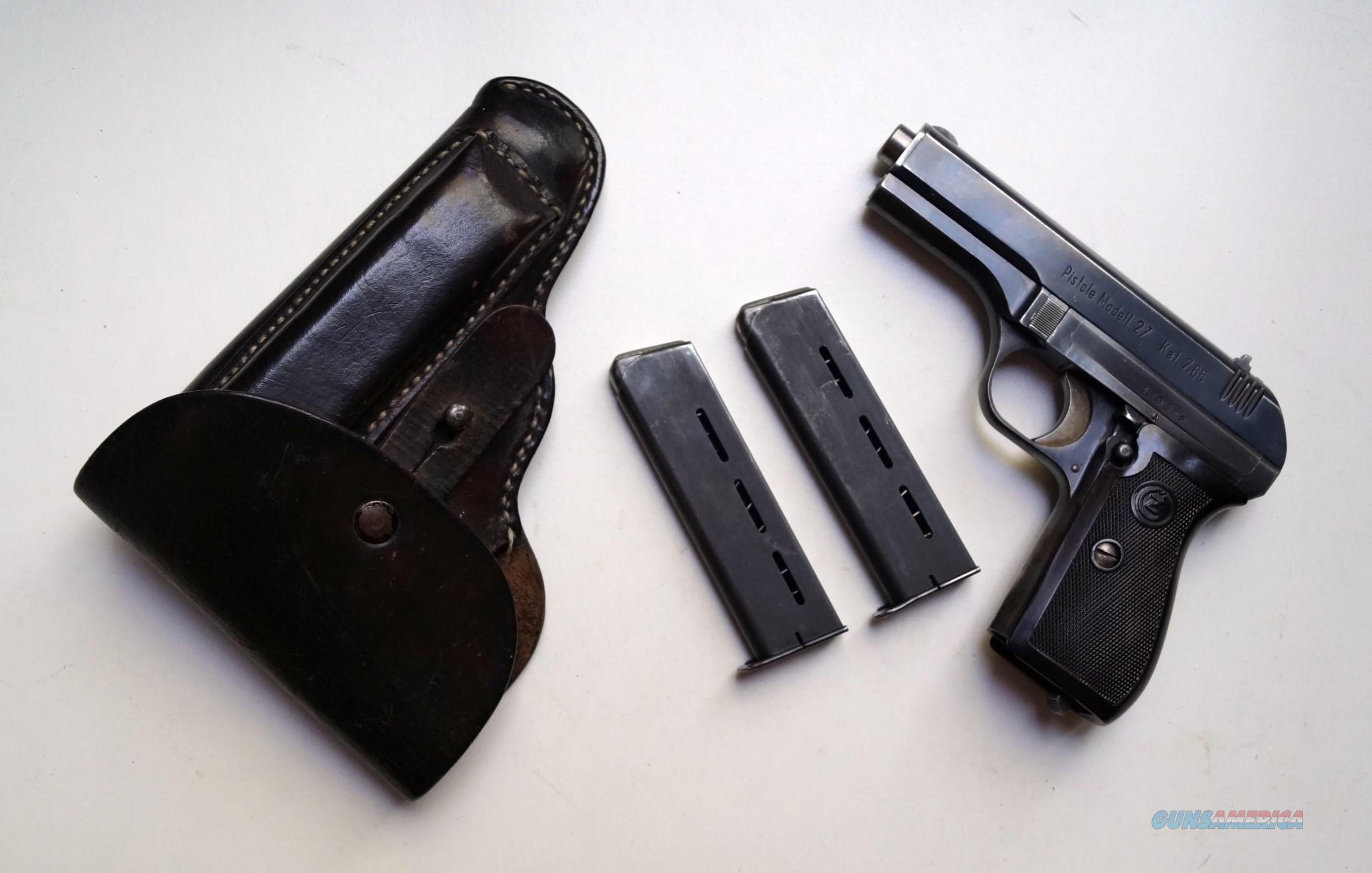 CZ 27 (CZECH BOHMISCHE) NAZI MARKED RIG WITH 2 ORIGINAL MAGAZINES  Guns > Pistols > Military Misc. Pistols Non-US