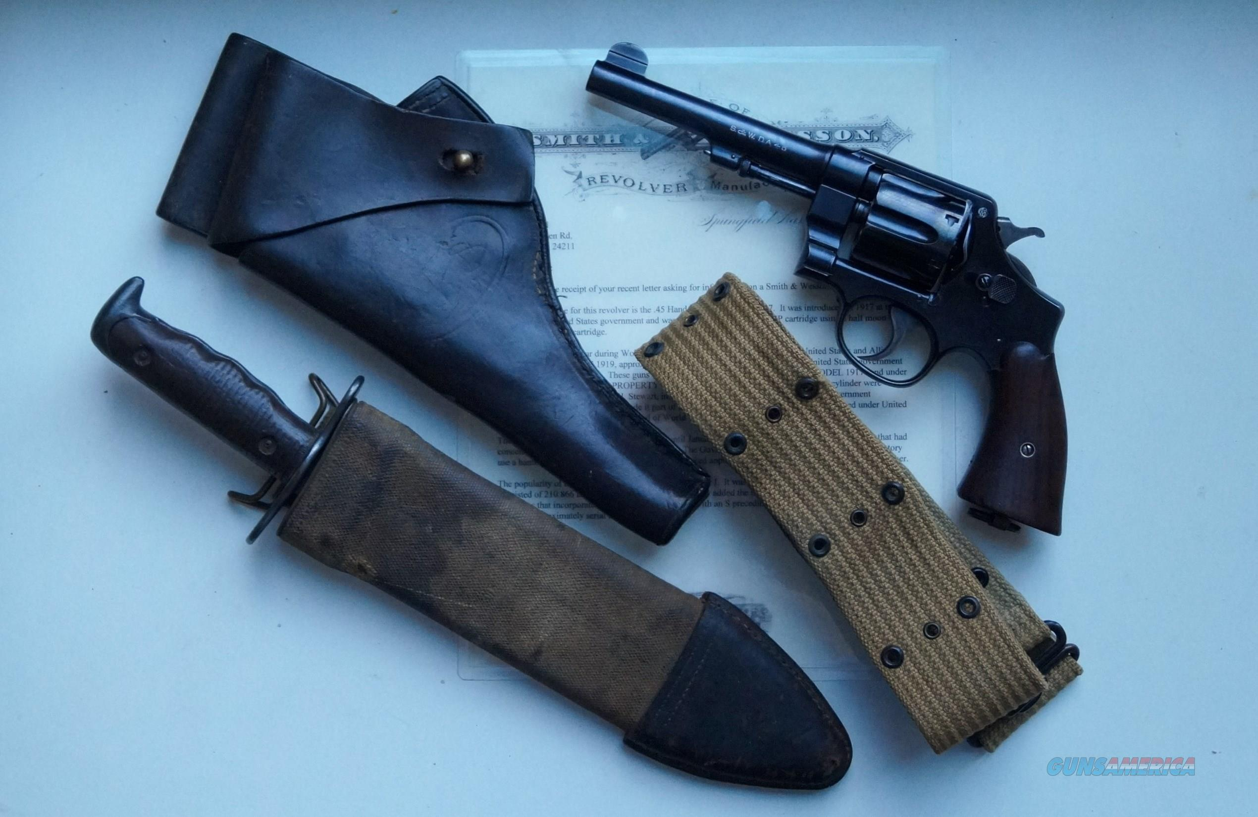 SMITH & WESSON MODEL 1917 U S ARMY REVOLVER WITH HOLSTER AND PAPERS  Guns > Pistols > Smith & Wesson Revolvers > Pre-1945