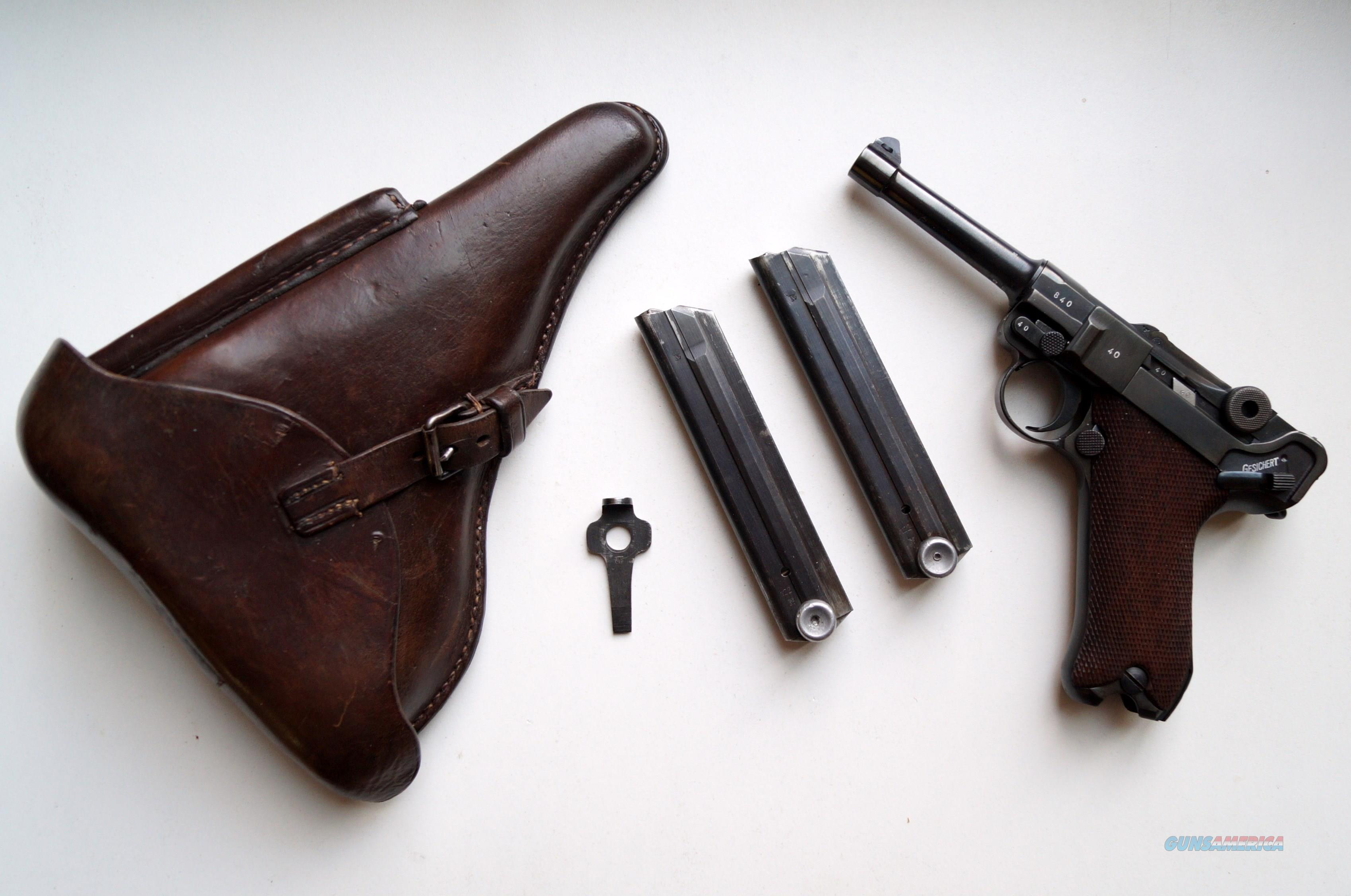 1940 CODE 42 NAZI GERMAN LUGER RIG W/ 2 MATCHING # MAGAZINE  Guns > Pistols > Luger Pistols