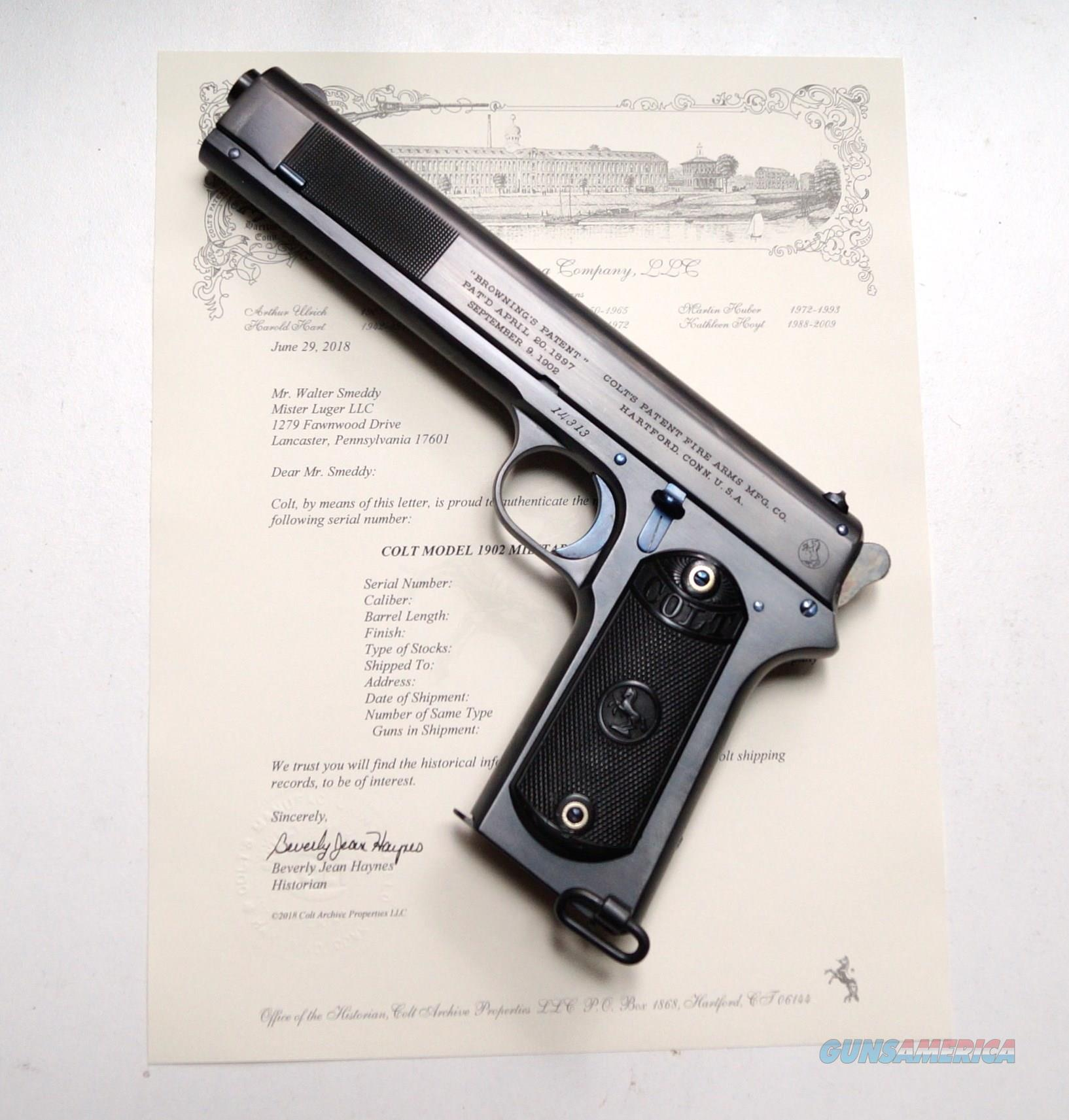 1902 COLT MILITARY WITH FRONT SLIDE SERRATIONS AND PAPERS OF AUTHENTICITY - MINT  Guns > Pistols > Colt Automatic Pistols (.25, .32, & .380 cal)