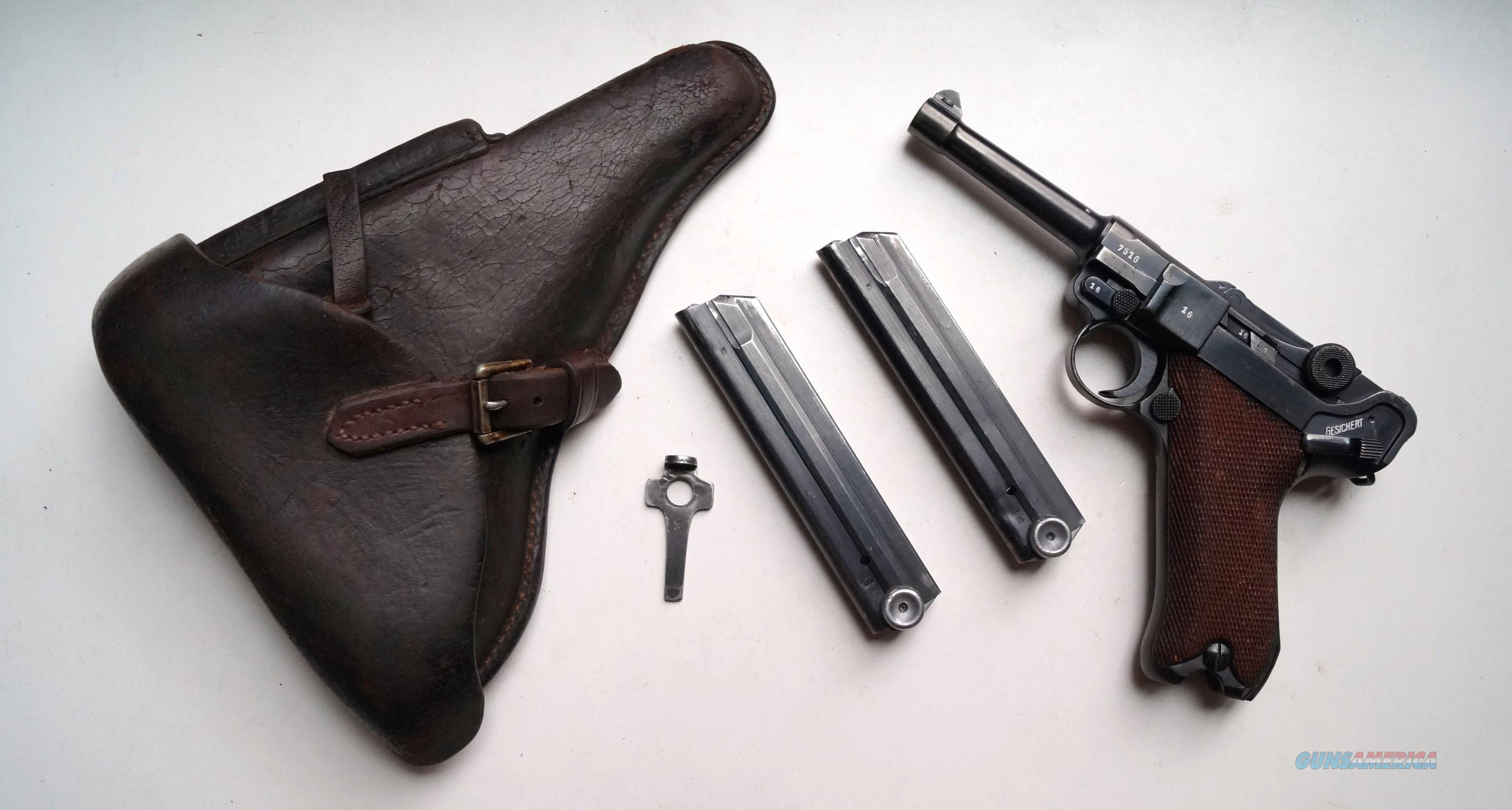 1940 CODE 42 NAZI GERMAN LUGER RIG WITH 2 MATCHING # MAGAZINES  Guns > Pistols > Luger Pistols