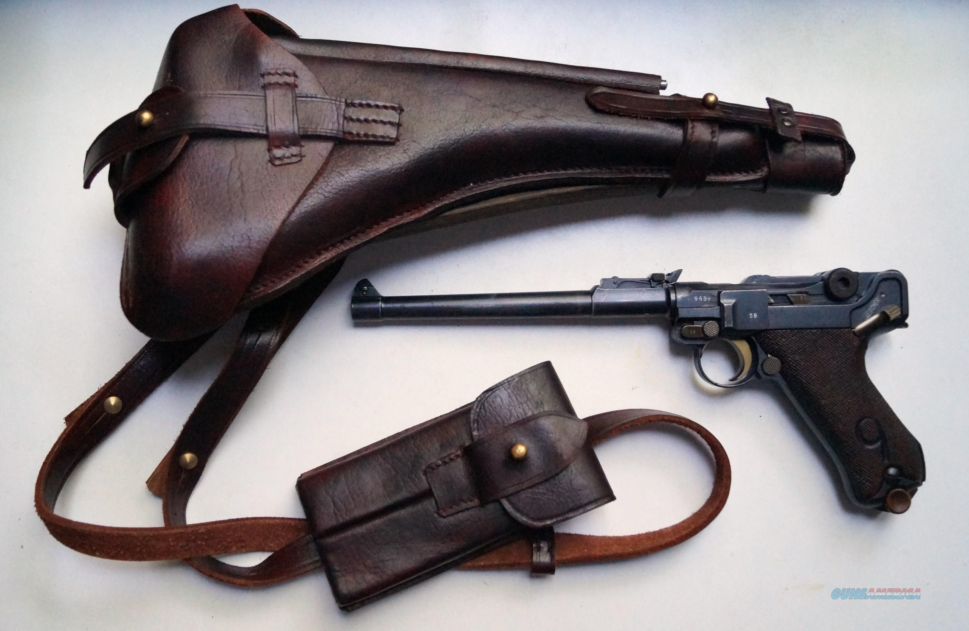 """1917 DWM MILITARY ARTILLERY GERMAN LUGER RIG """"RED 9"""" WITH MATCHING # MAGAZINE  Guns > Pistols > Luger Pistols"""