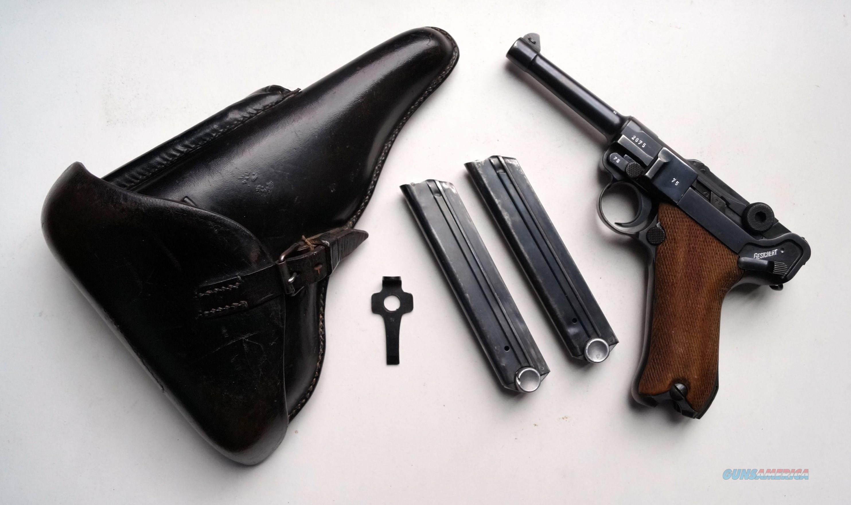 1938 S/42 NAZI GERMAN LUGER RIG WITH 2 MATCHING # MAGAZINE  Guns > Pistols > Luger Pistols