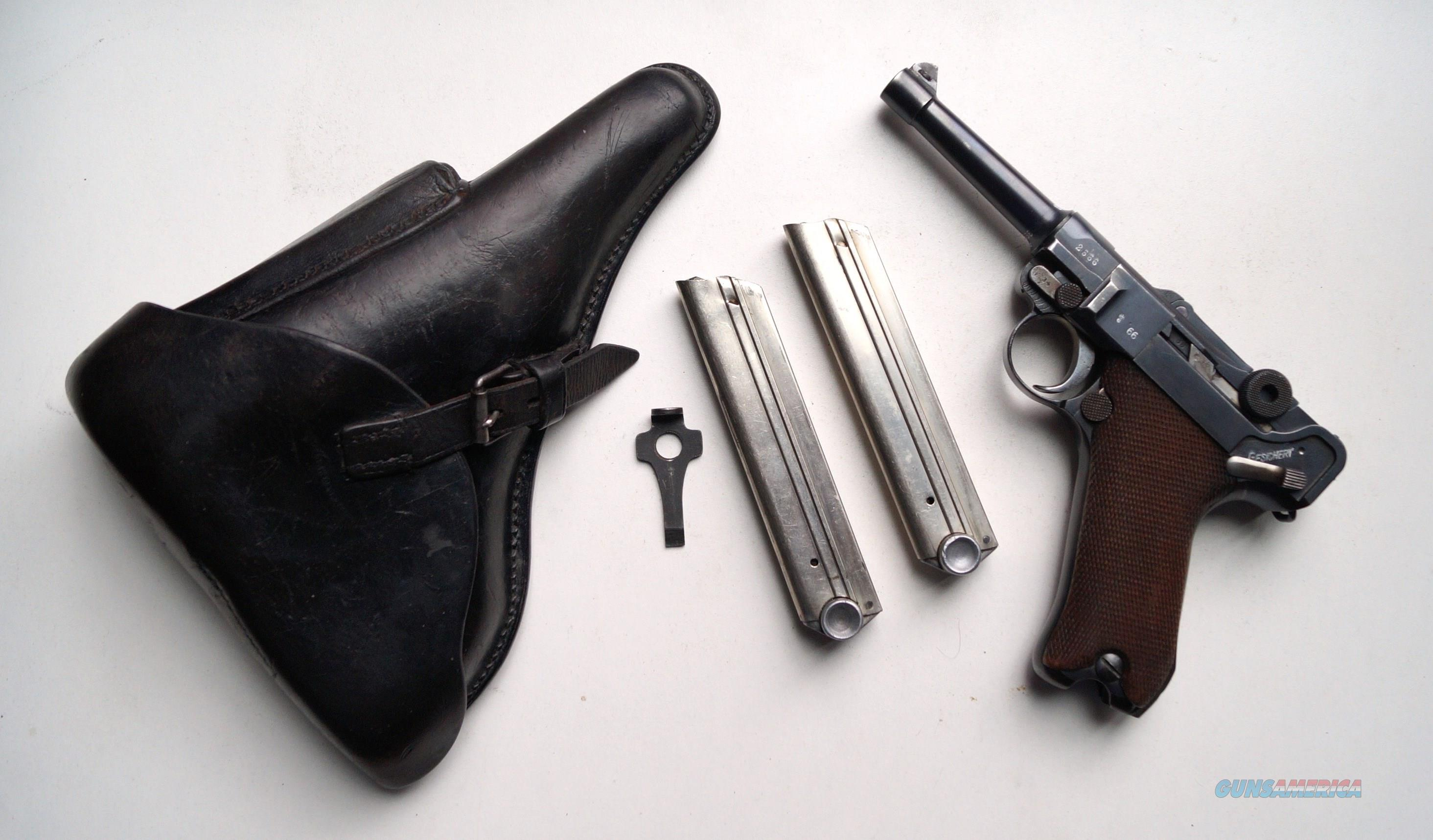 SIMSON / SUHL GERMAN LUGER RIG W/ 2 MATCHING # MAGAZINES  Guns > Pistols > Luger Pistols