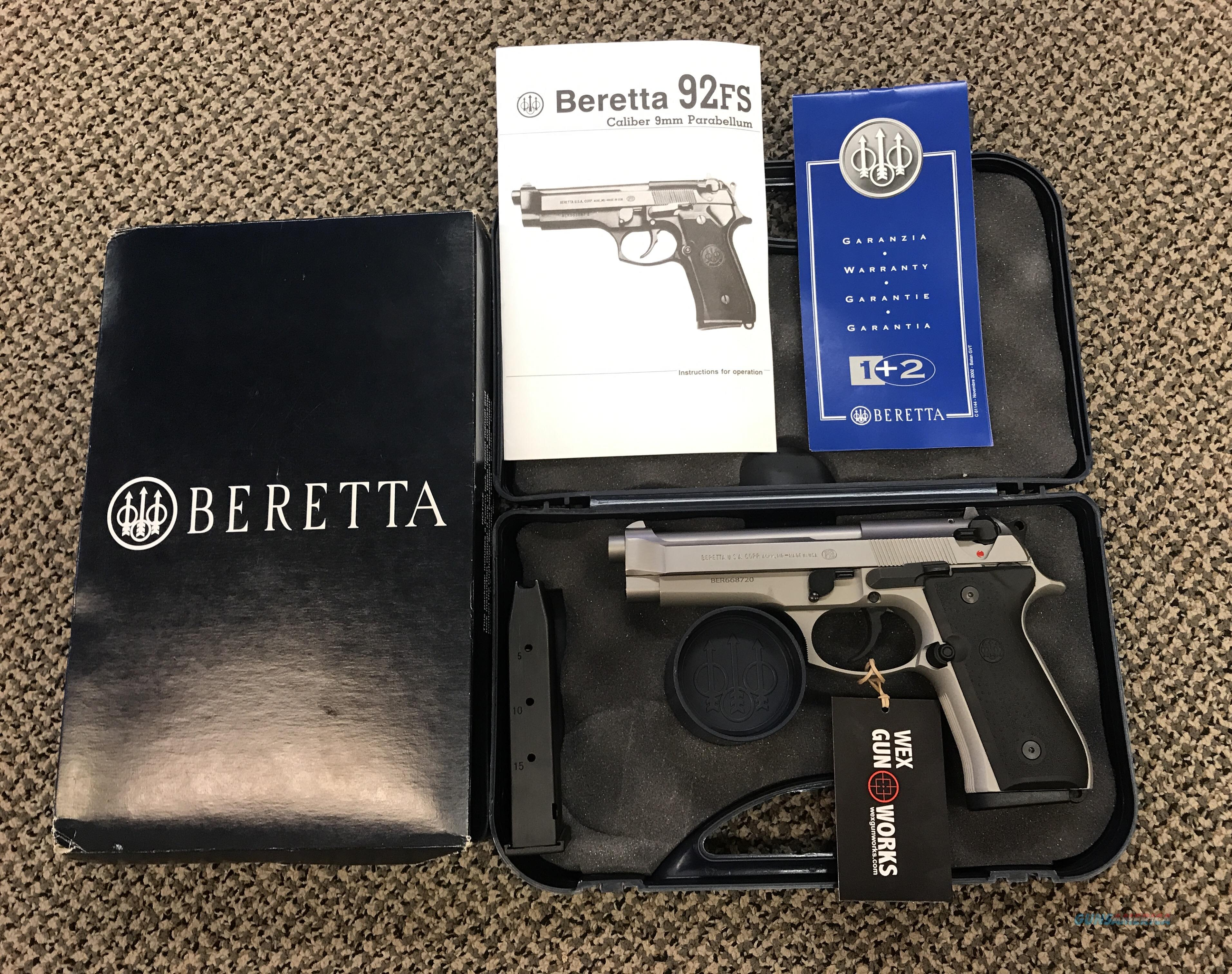 BERETTA 92FS INOX 9MM USED UNFIRED BOX PAPERS TWO MAGAZINES   Guns > Pistols > Beretta Pistols > Model 92 Series