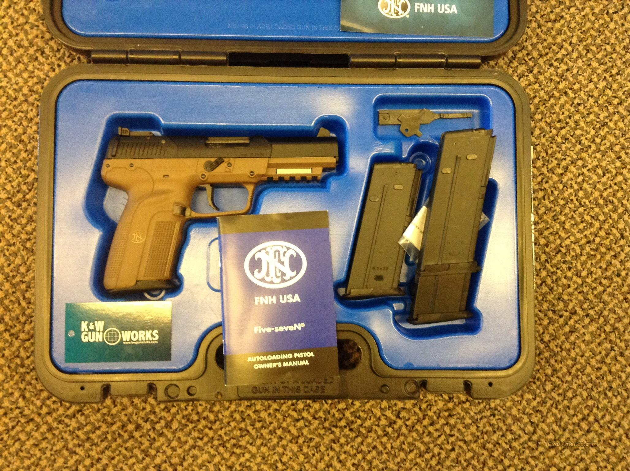 FN FIVE SEVEN PISTOL 5.7x28 PISTOL FLAT DARK EARTH NIB  Guns > Pistols > FNH - Fabrique Nationale (FN) Pistols > FiveSeven