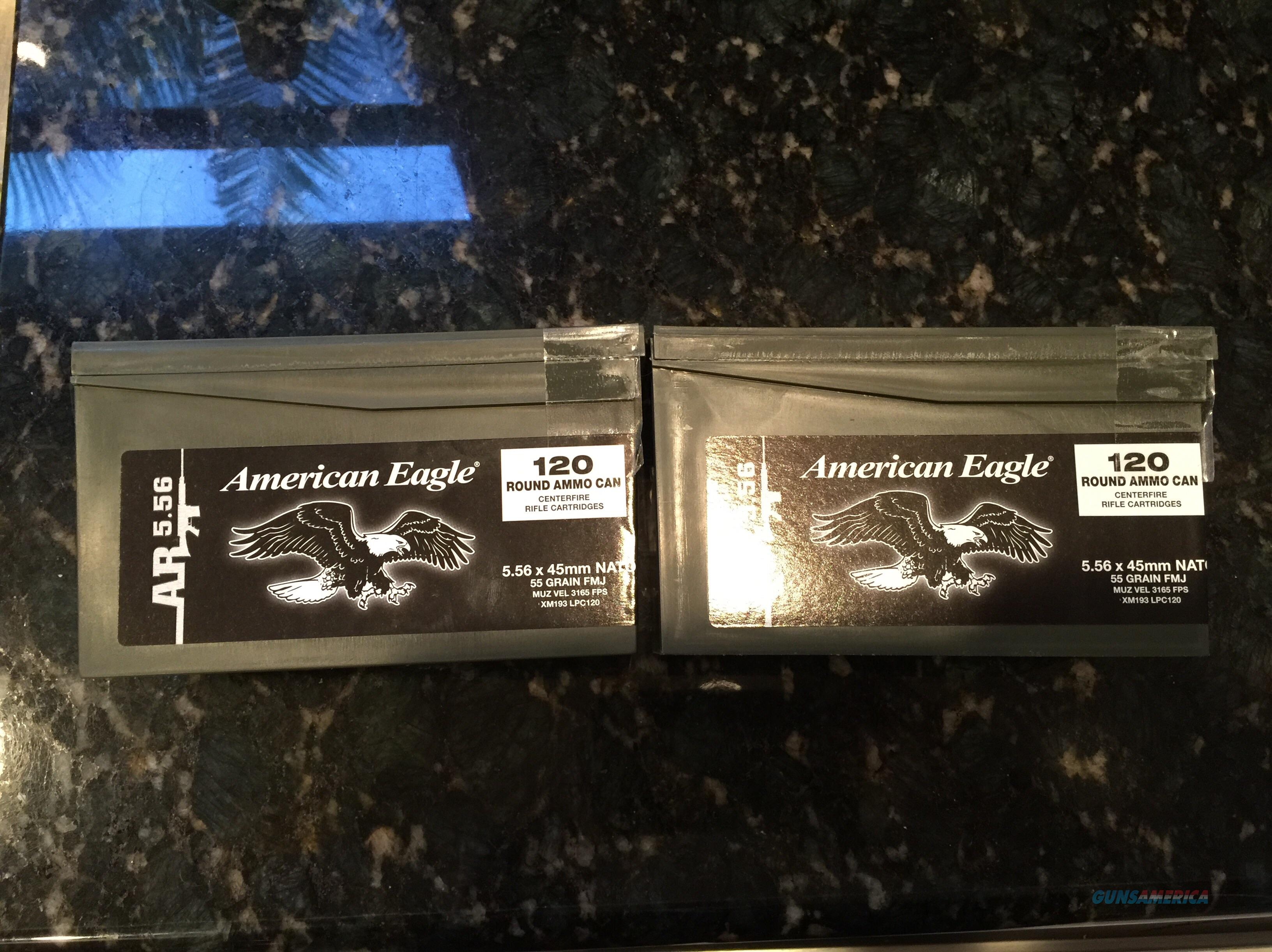 AMERICAN EAGLE 5.56 XM193 -55 GRAIN -240 ROUNDS-TWO MINI AMMO CANS  Non-Guns > Ammunition