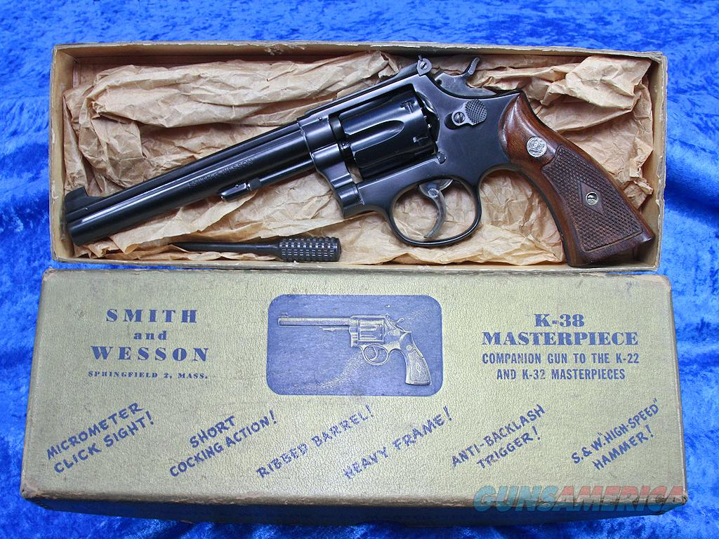 "1950 Smith & Wesson K-38 Masterpiece 6"" Target Pre-Model 14 98%  Guns > Pistols > Smith & Wesson Revolvers > Full Frame Revolver"