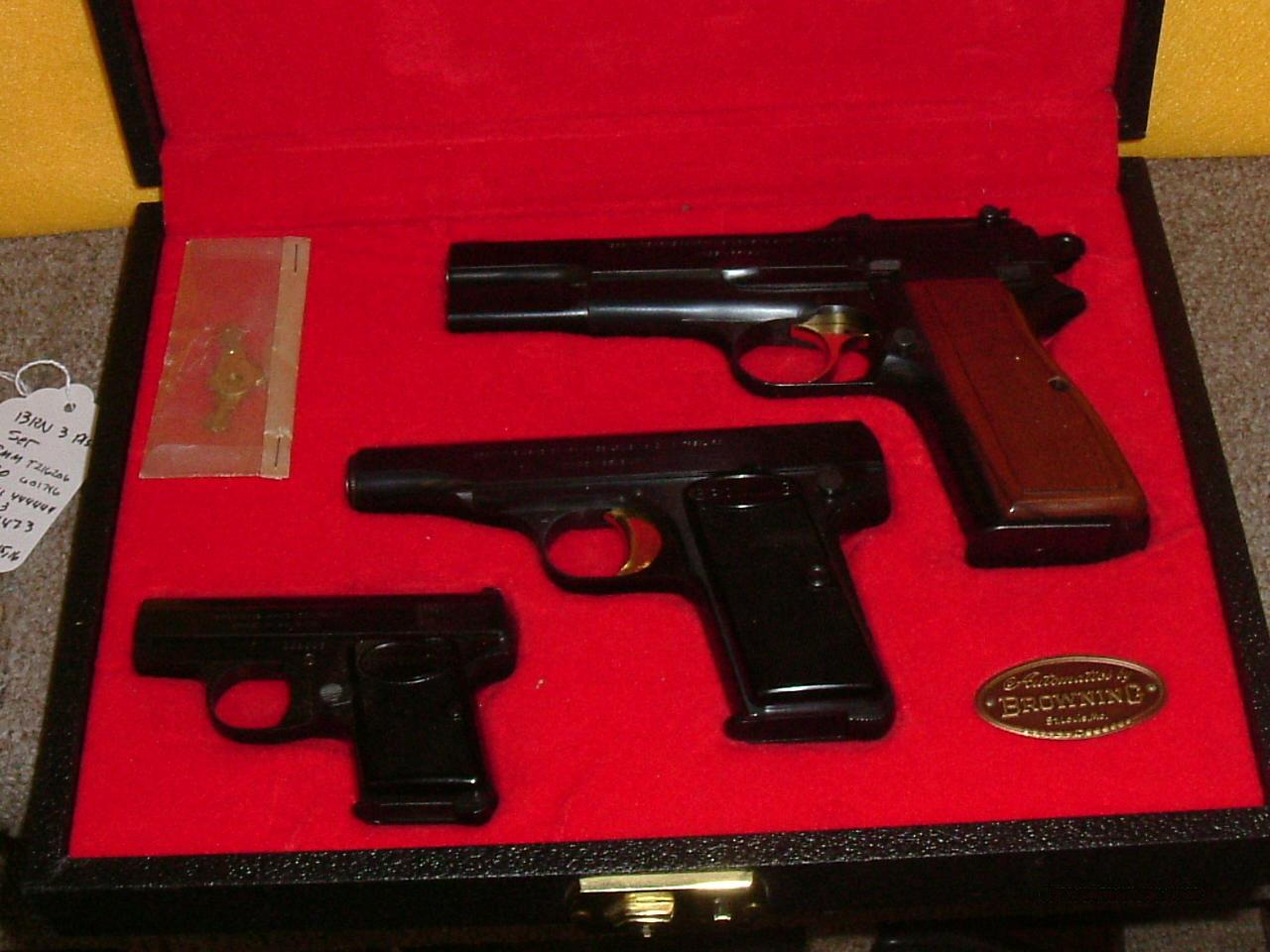 Browning Cased 3 pistol set  Guns > Pistols > Browning Pistols > Hi Power