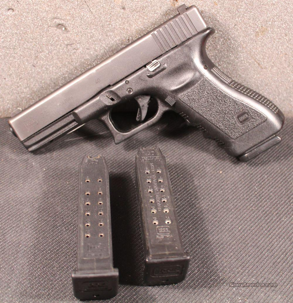 Glock GL22 .40SW LE Trade-In NS Fair - Good 3-15rd Mags  Guns > Pistols > Glock Pistols > 22