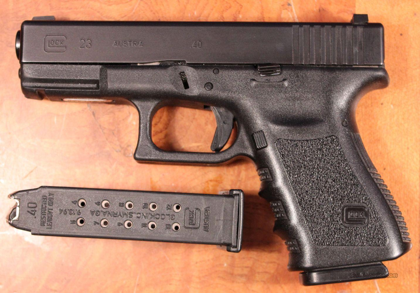 Glock 23 .40SW Gen 3 LE Trade-In Good -VG (2) 13rd Mags Night Sights  Guns > Pistols > Glock Pistols > 23