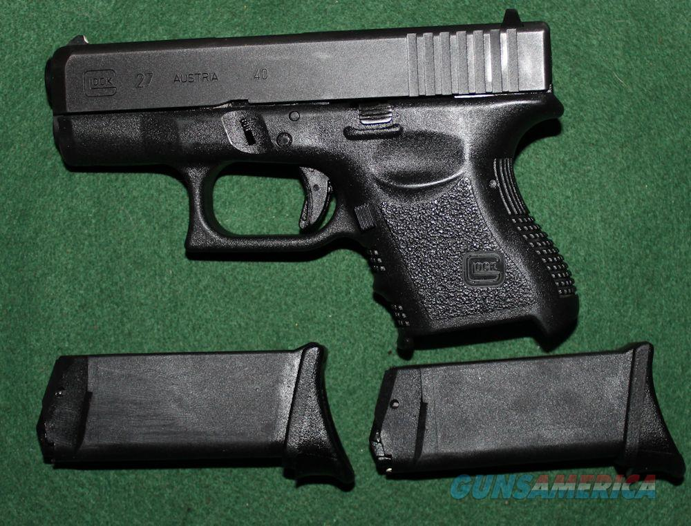 Glock 27 Gen 3 LE Trade 40S&W w/ 2 9rd Magazines W/Finger Extensions Good To VG Condition  Guns > Pistols > Glock Pistols > 26/27