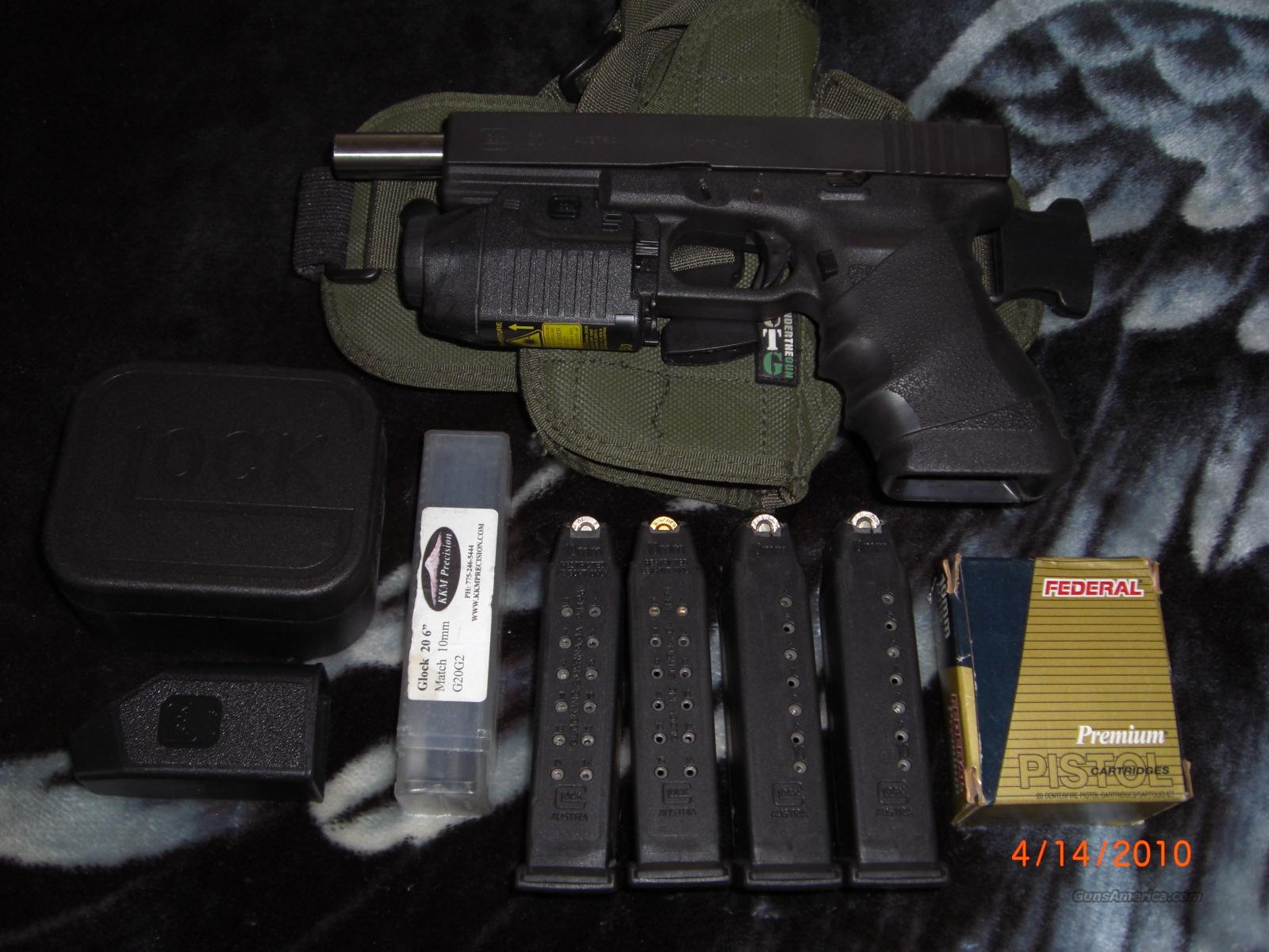 "Glock 20; 10mm; Laser/Light, 6"" Match Barrel, Night sights  Guns > Pistols > Glock Pistols > 20/21"