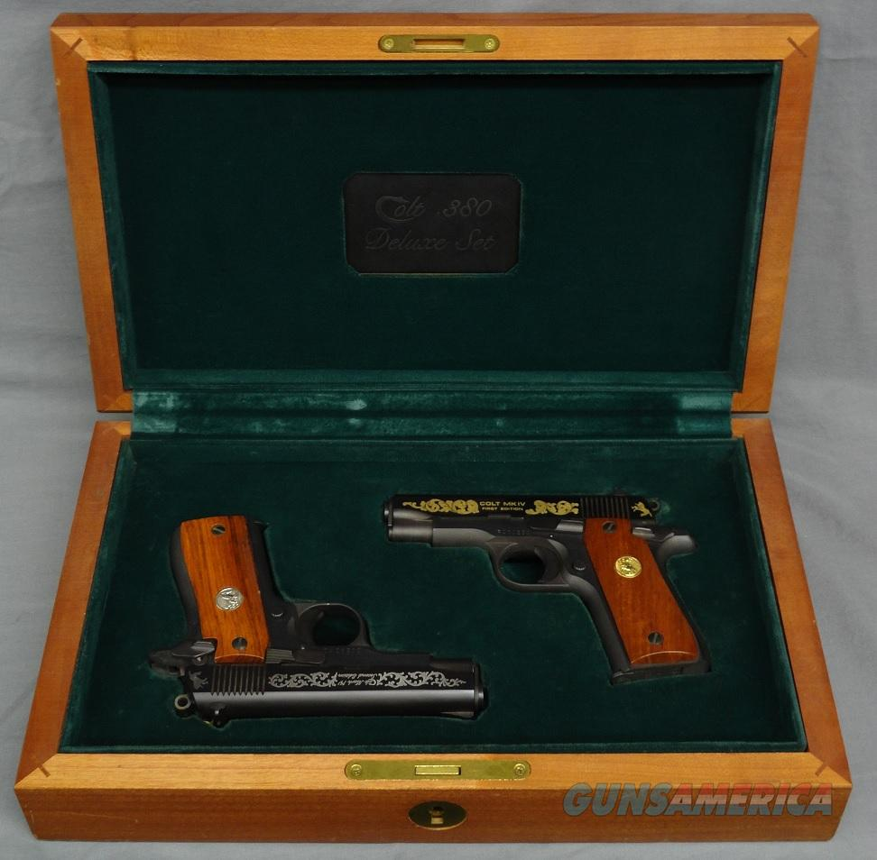 Colt government 380 engraved consecutive pair in presentation box  Guns > Pistols > Colt Automatic Pistols (.25, .32, & .380 cal)