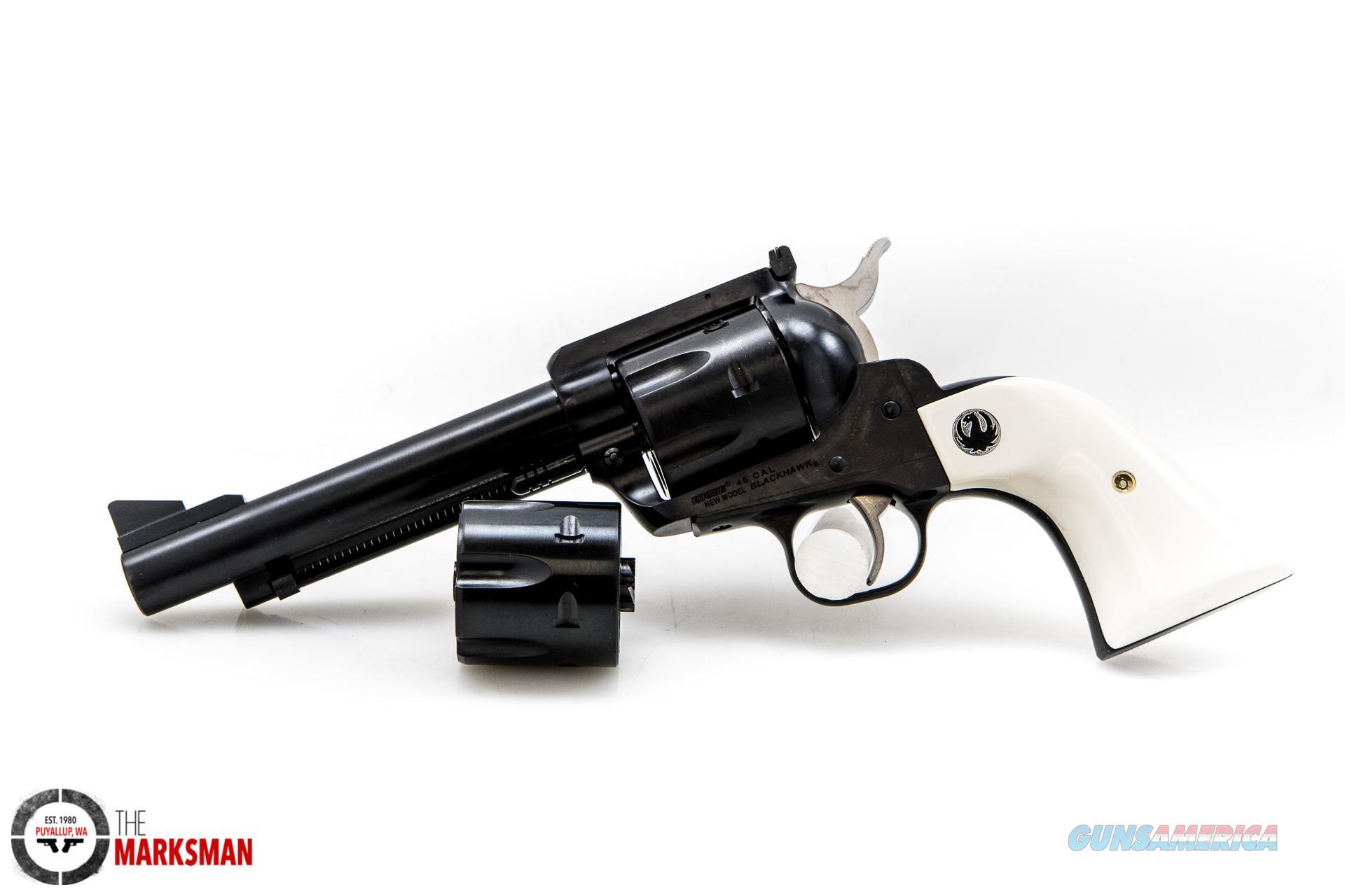 Ruger Convertible Blackhawk, .45 Colt/.45 ACP, Imitation Ivory Grips  Guns > Pistols > Ruger Single Action Revolvers > Blackhawk Type