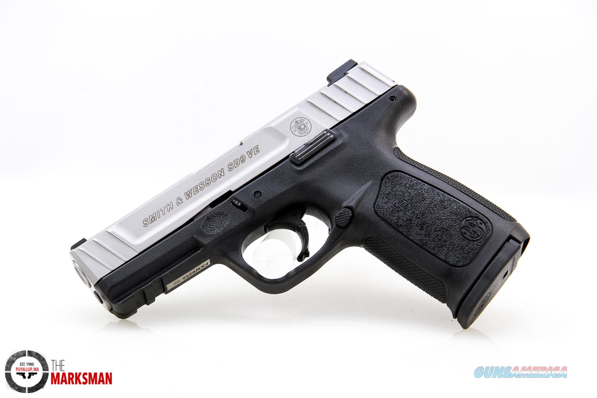 Smith and Wesson SD9 VE 9mm NEW Stainless Slide  Guns > Pistols > Smith & Wesson Pistols - Autos > Polymer Frame