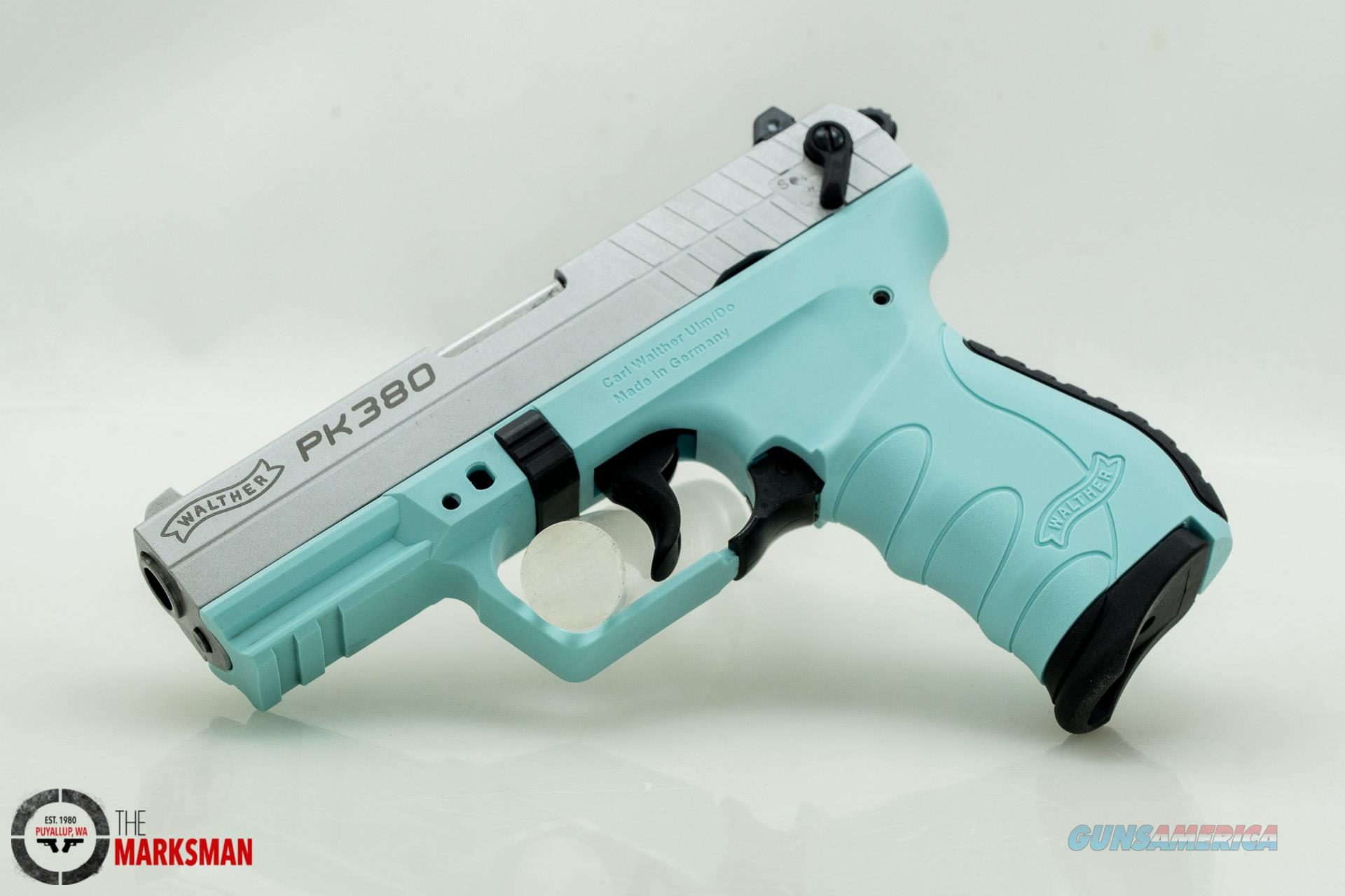 Walther PK380, .380 ACP, Angel Blue and Silver   Guns > Pistols > Walther Pistols > Post WWII > PK380