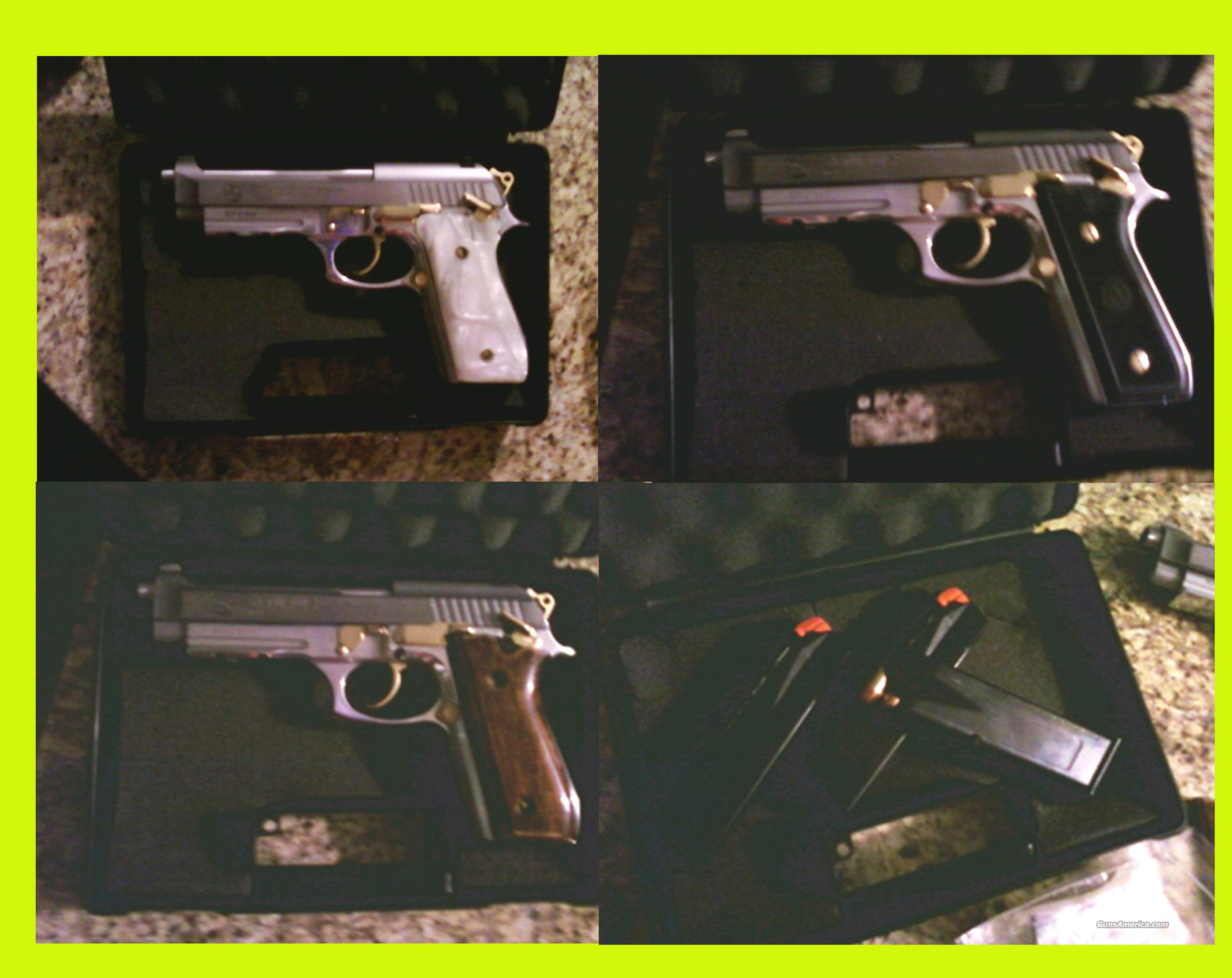 Like NEW - Taurus PT100 .40 S&W Mutiple grips (pearl, wood, black) with Gold Accents w/ Rail (PT 100 - 3 Mags)  Guns > Pistols > Taurus Pistols/Revolvers > Pistols > Steel Frame