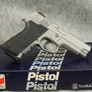 Smith & Wesson 4046 Stainless .40 S&W Pistol with Hogue Rubber Grips, Night Sights and Two Magazines - EXCELLENT CONDITION IN BOX  Guns