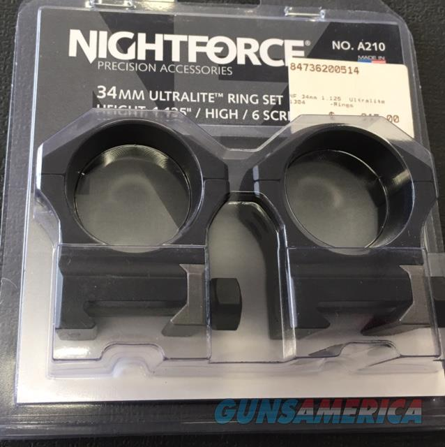 Nightforce Scope Rings 1.125 A210 NIB NO CC FEES  Non-Guns > Scopes/Mounts/Rings & Optics > Mounts > Tactical Rail Mounted