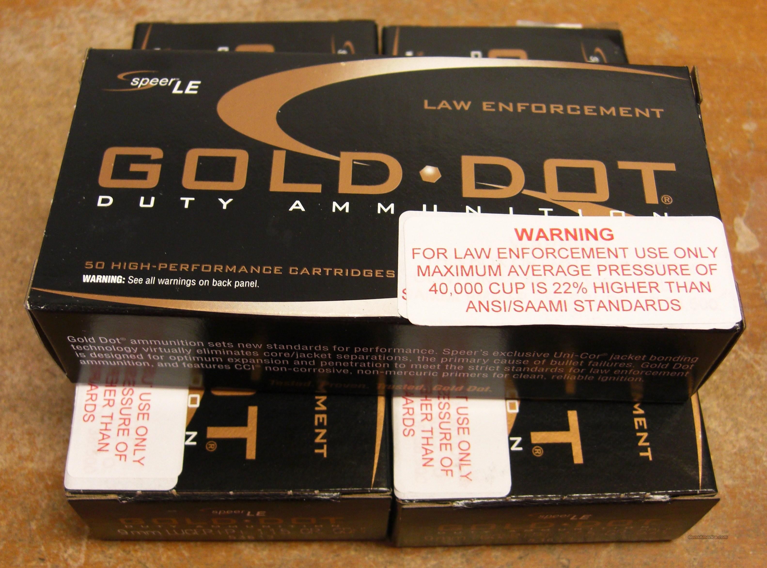 150 rounds of Gold Dot LE 9mm+p+ hollow point ammo  Non-Guns > Ammunition