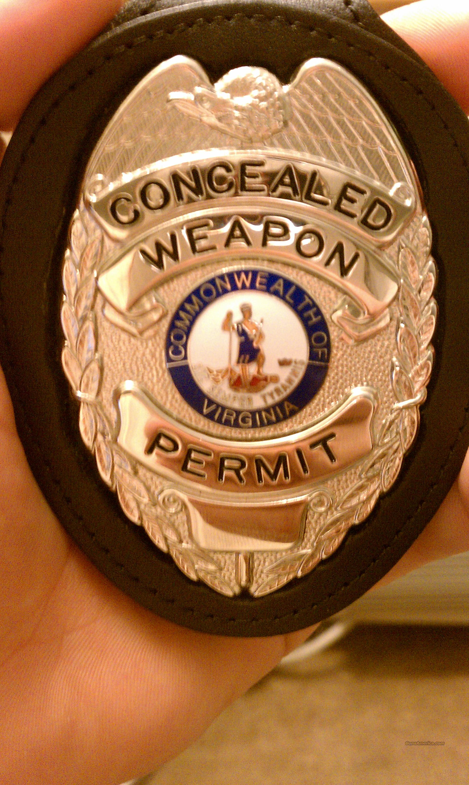 Concealed Weapon Permit Badge Virginia For Sale
