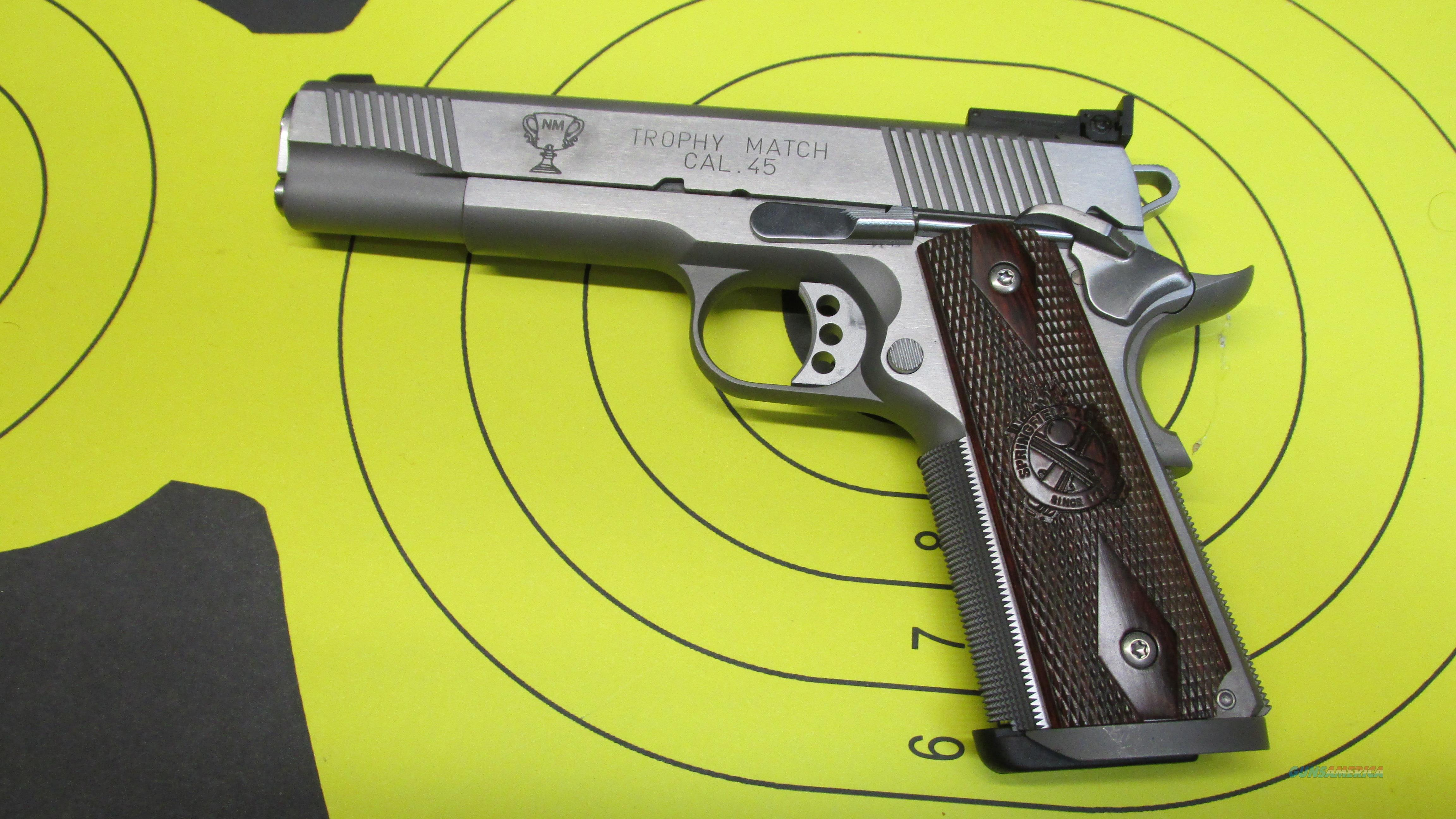"SPRINGFIELD ARMORY 1911 TROPHY MATCH STAINLESS .45ACP PISTOL 2 7 ROUND MAGAZINES WITH 5"" BARREL  Guns > Pistols > Springfield Armory Pistols > 1911 Type"