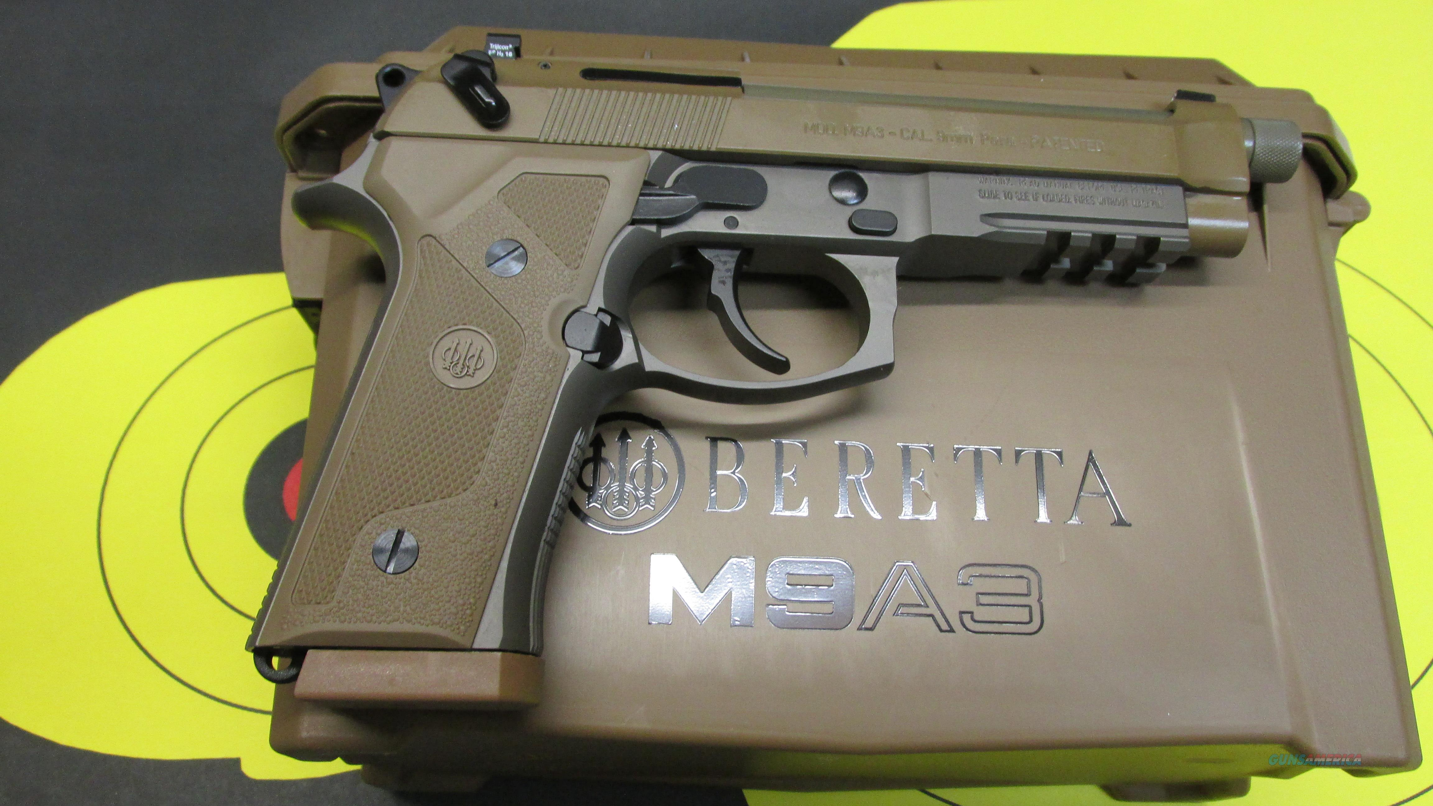 "BERETTA M9A3 9MM PISTOL FDE W/ NIGHT SIGHTS, (3) 17 ROUND MAGAZINES, 5.2"" THREADED BARREL   Guns > Pistols > Beretta Pistols > M9"