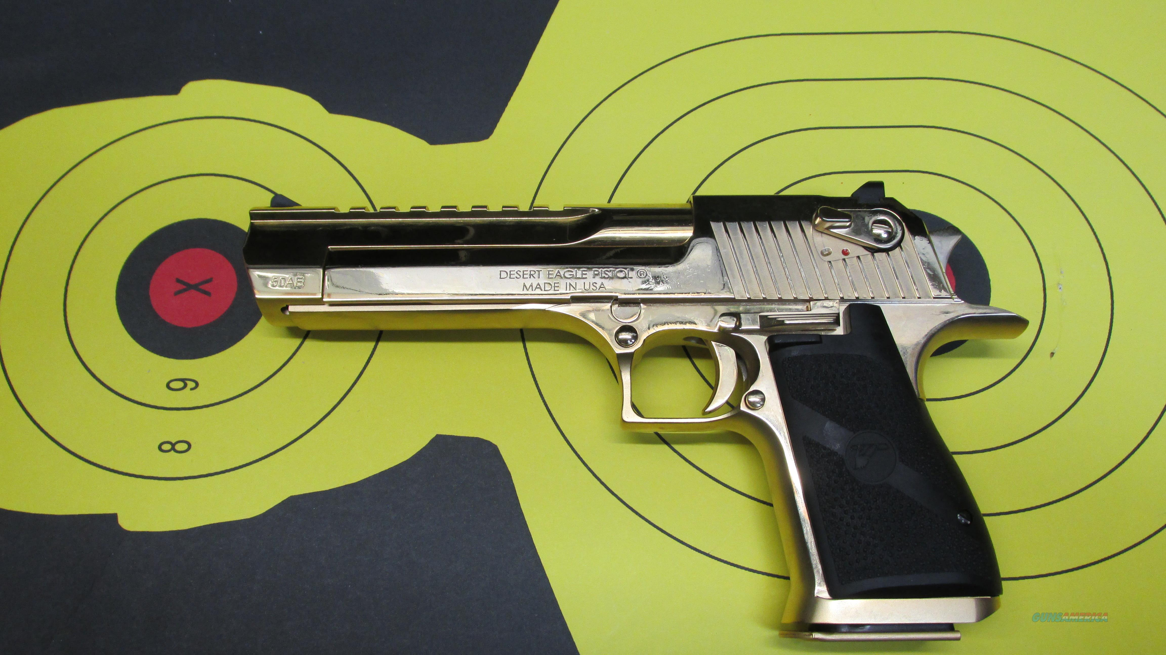 "MAGNUM RESEARCH GOLD DESERT EAGLE 50AE 7 ROUND MAG WITH 6"" BARREL  Guns > Pistols > Magnum Research Pistols"