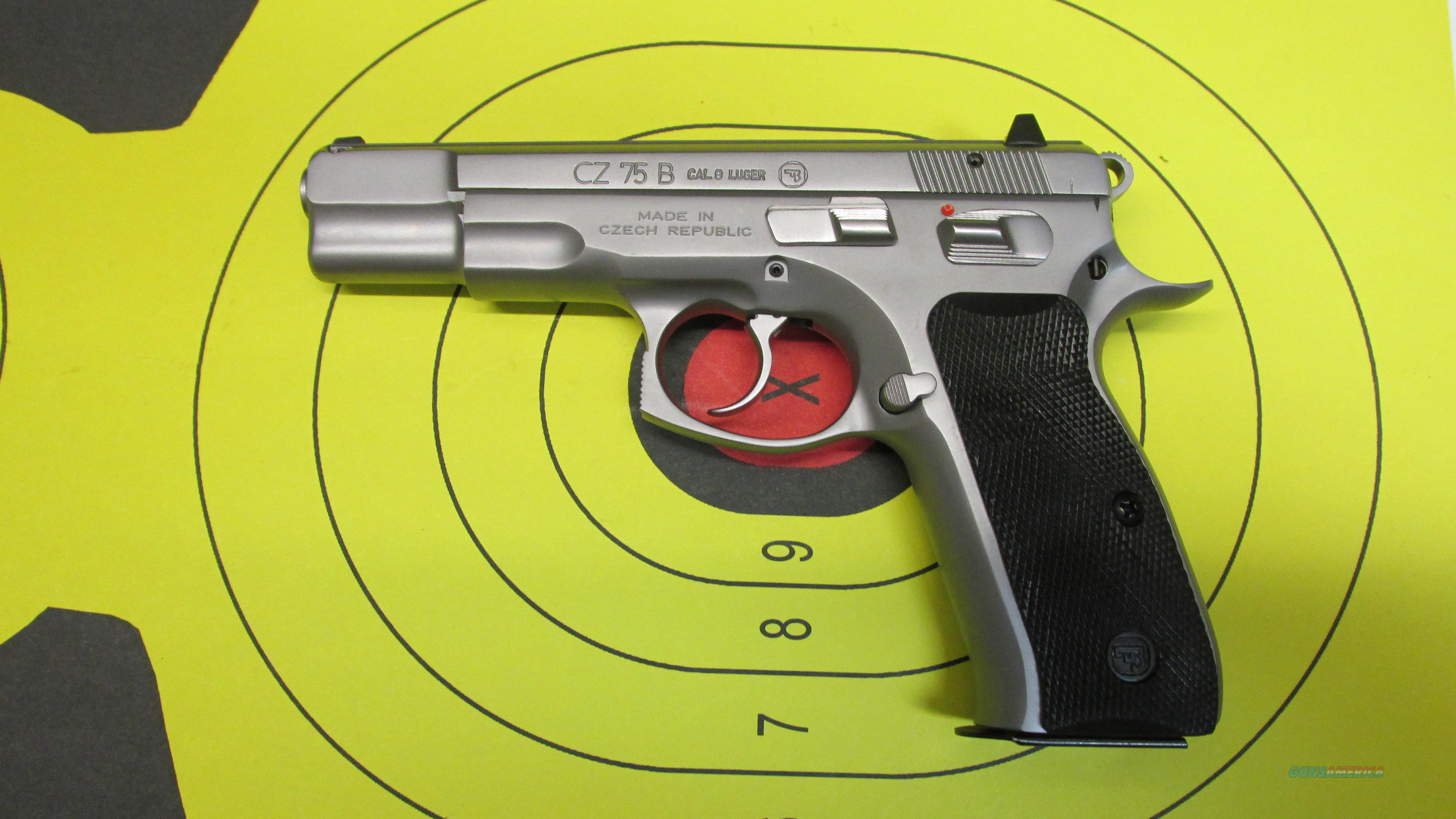 "CZ-USA CZ 75B STAINLESS MATTE 9MM PISTOL 2 16 ROUND MAGS WITH 4.6"" BARREL.  Guns > Pistols > CZ Pistols"