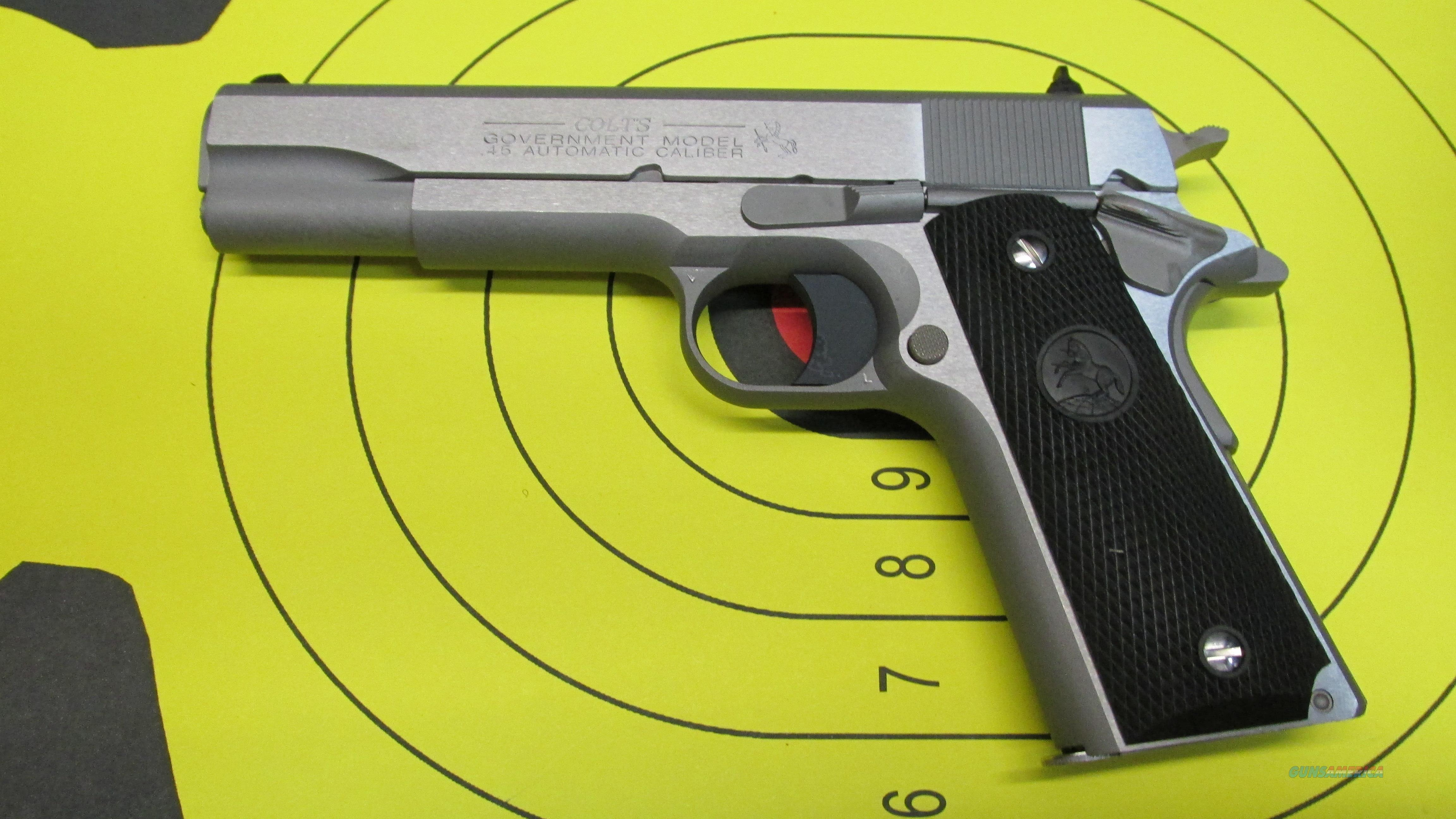 "COLT 1911 GOVERNMENT MODEL .45ACP 5"" BARREL 8 ROUND MAGAZINE (2) BRUSHED STAINLESS STEEL   Guns > Pistols > Colt Automatic Pistols (1911 & Var)"