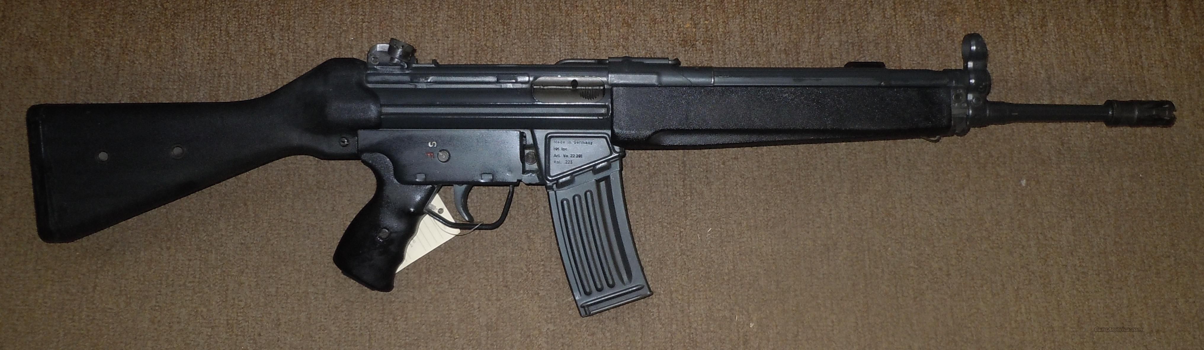 HECKLER & KOCH 93 223REM RIFLE W/ FIXED STOCK & CARRY HANDLE  Guns > Rifles > Heckler & Koch Rifles > Tactical