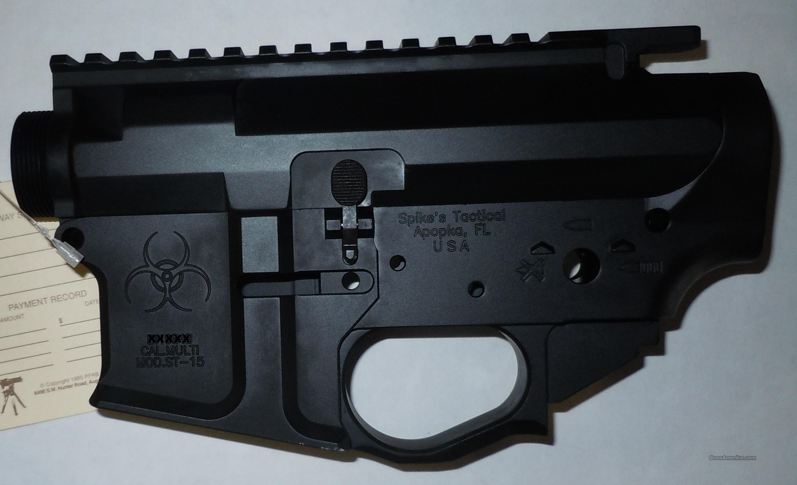 SPIKE'S TACTICAL BIOHAZARD MILLED AND MATCHED AR STRIPPED LOWER AND UPPER RECEIVERS  Guns > Rifles > AR-15 Rifles - Small Manufacturers > Lower Only