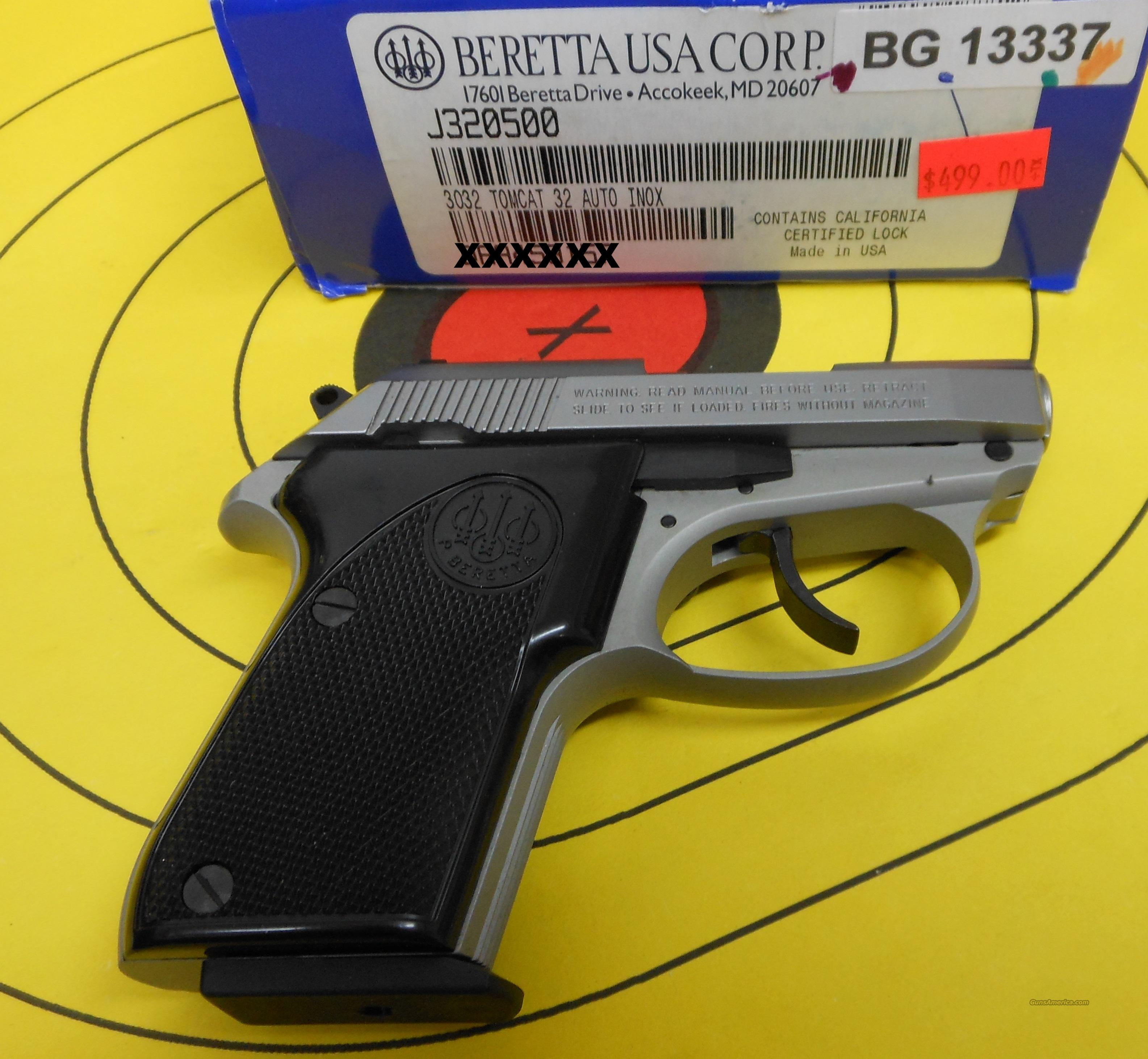 BERETTA 3032 32 AUTO INOX TOMCAT PISTOL W/ TIP UP BARREL FOR ADDED SAFETY   Guns > Pistols > Beretta Pistols > Small Caliber Tip Out