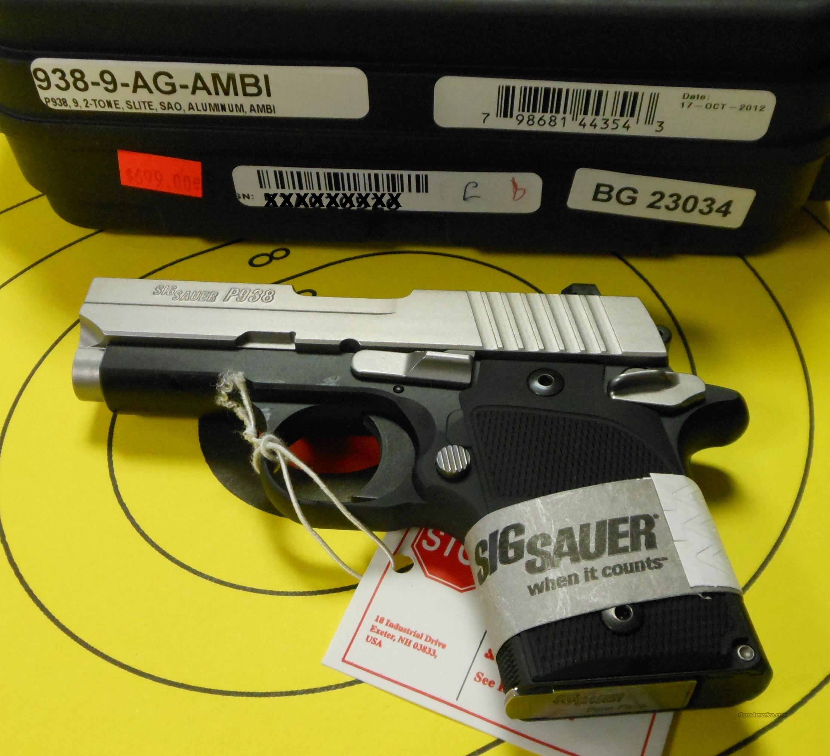 SIG SAUER P938 9MM SAO PISTOL (938-9-AG-AMBI)  Guns > Pistols > Sig - Sauer/Sigarms Pistols > Other