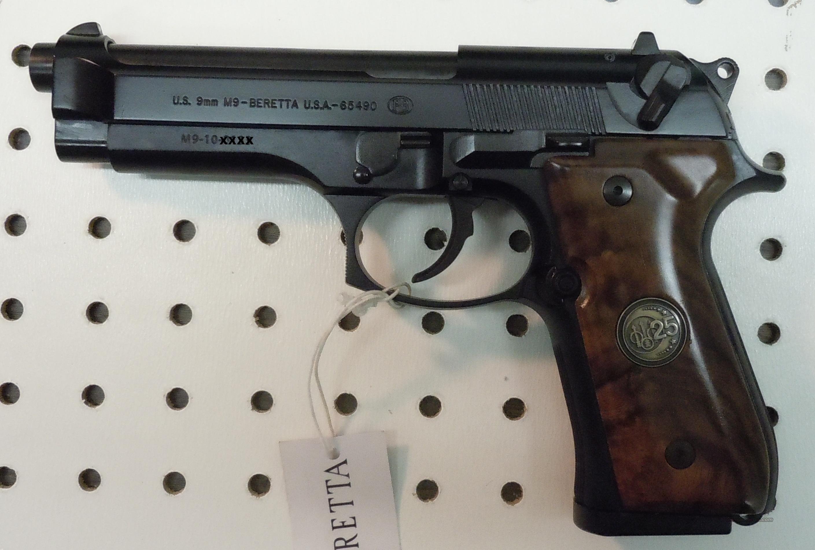 BERETTA M9 25TH ANNIVERSARY 9MM PISTOL, WOOD GRIPS, LIMITED TO 2010 PISTOLS  Guns > Pistols > Beretta Pistols > Model 92 Series