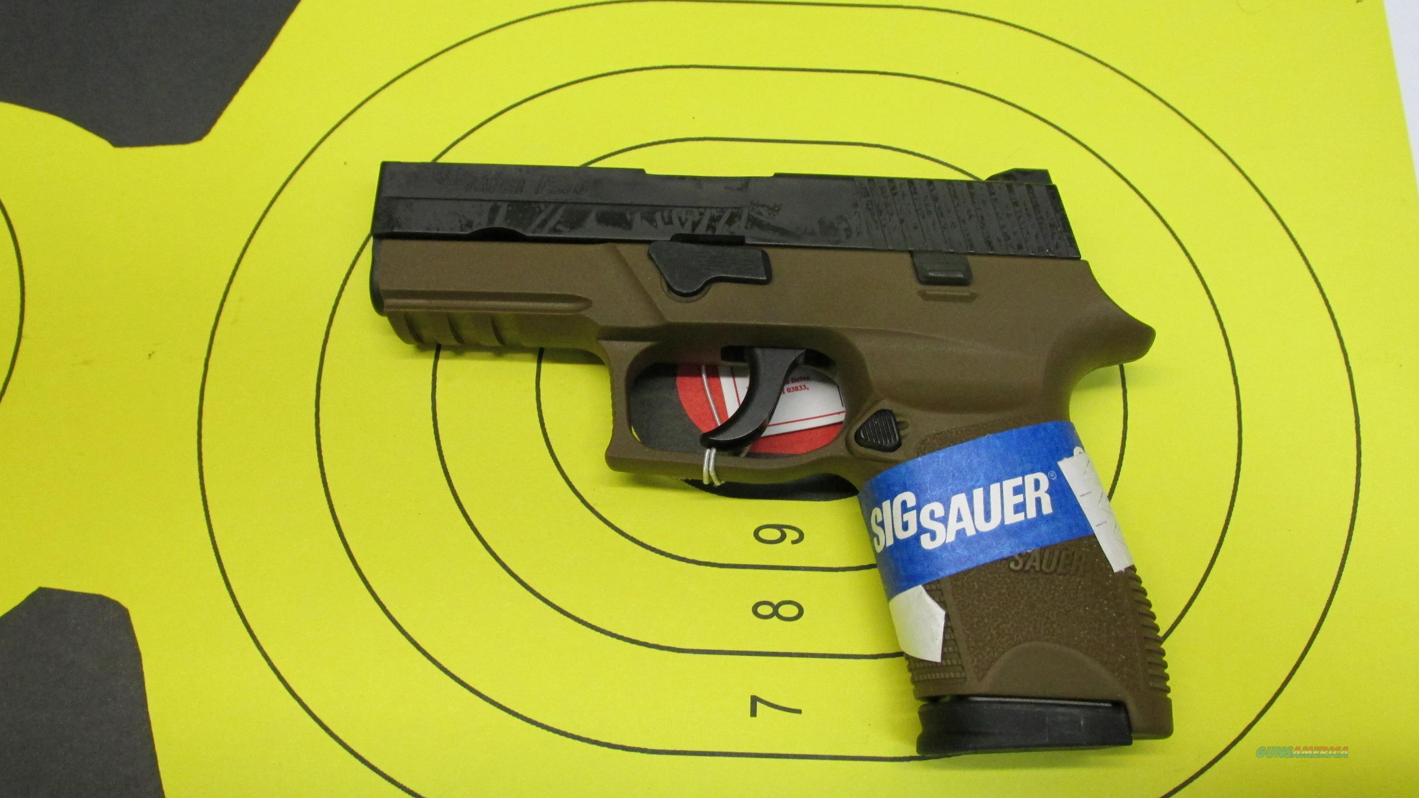 """SIG SAUER P250 COMPACT FDE 9MM PISTOL 15 ROUND MAG WITH 4"""" BARREL AND NIGHT SIGHTS  Guns > Pistols > Sig - Sauer/Sigarms Pistols > P250"""