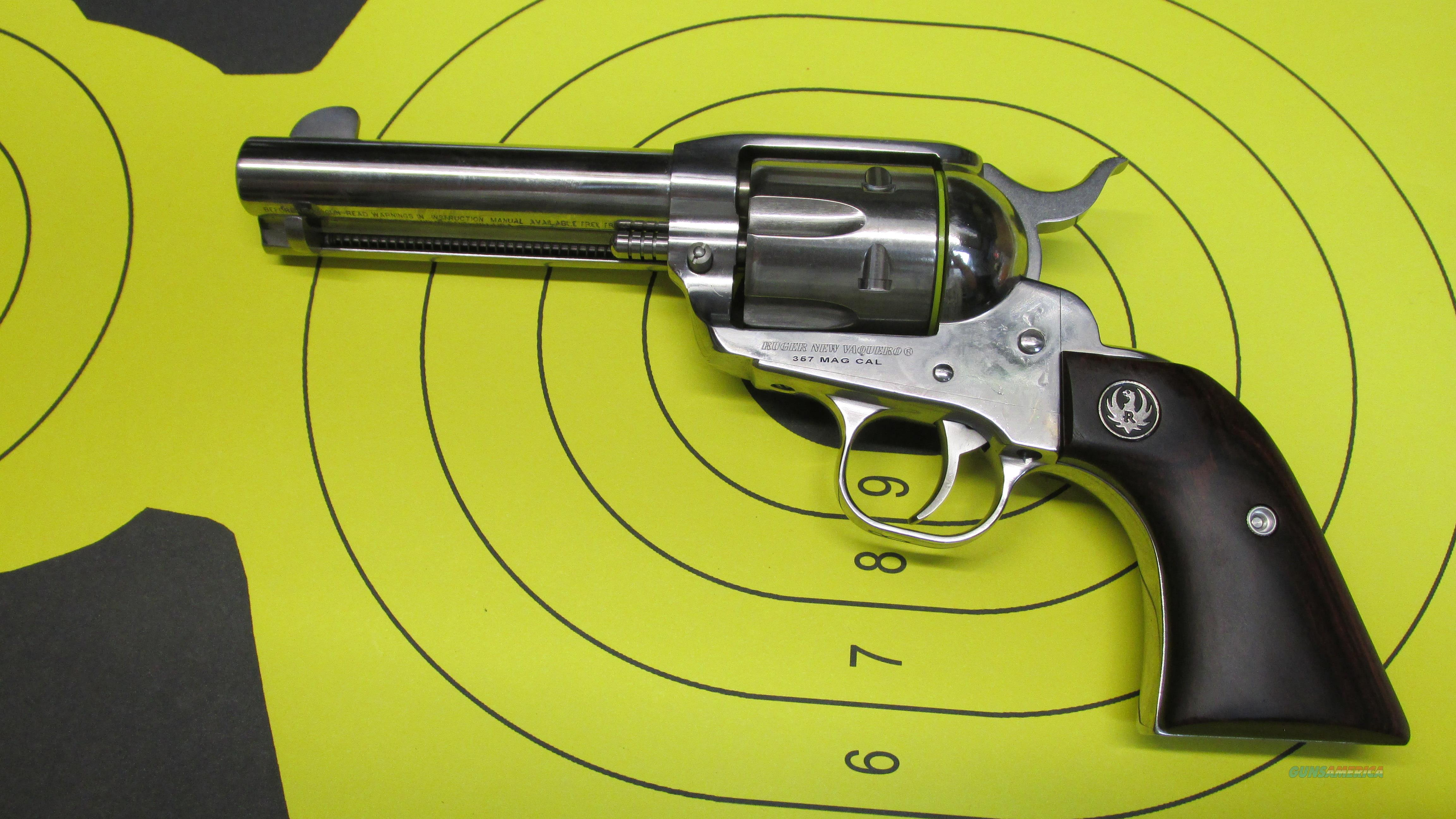 "RUGER NEW VAQUERO .357 MAGNUM 6 SHOT SINGLE ACTION STAINLESS REVOLVER 4.62"" BARREL  Guns > Pistols > Ruger Single Action Revolvers > Cowboy Action"