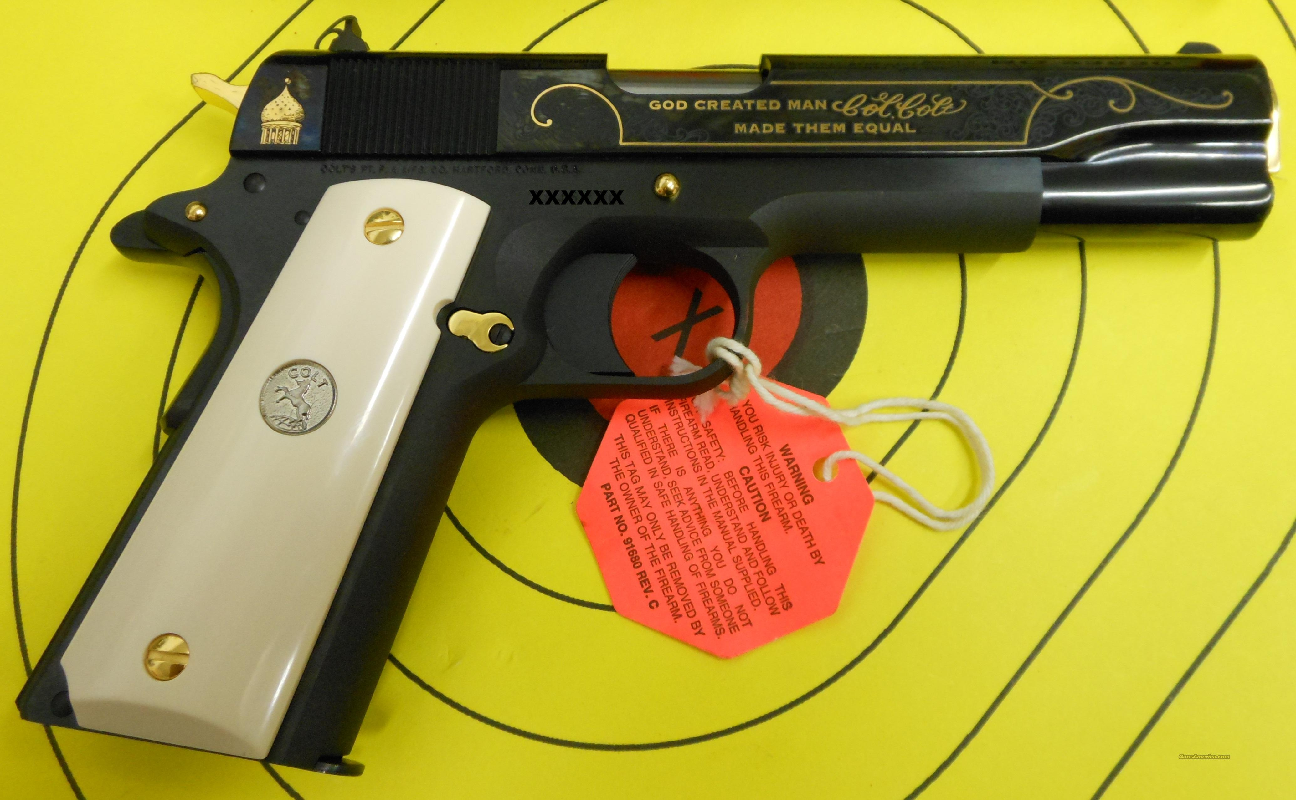 "COLT GOVERNMENT MODEL 1911 45ACP PISTOL (01991) WITH GOLD EMBELLISHMENTS ""GOD CREATED MAN, COL. COLT MADE THEM EQUAL""  Guns > Pistols > Colt Automatic Pistols (1911 & Var)"